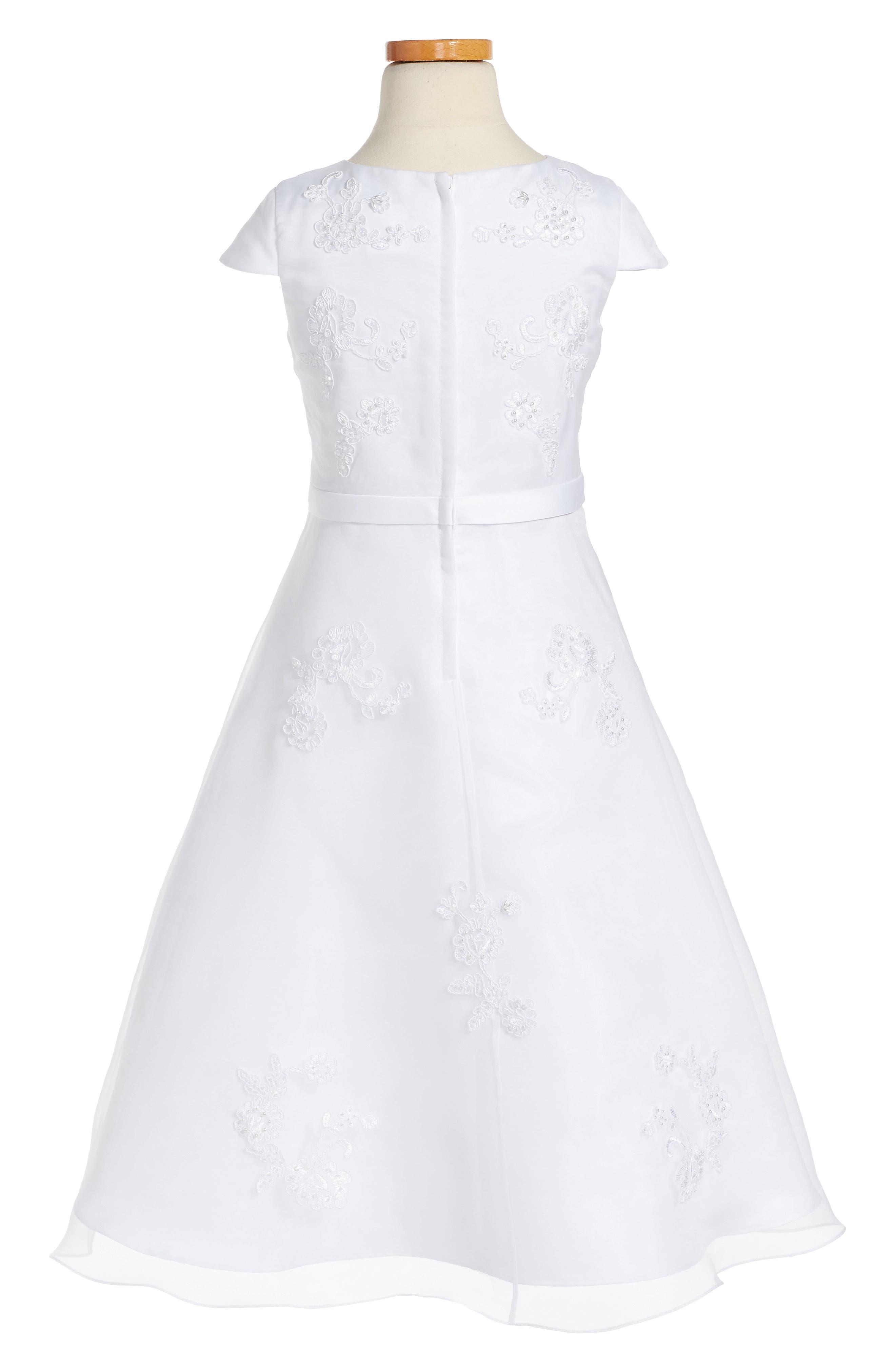 Lace Floral Fit & Flare Dress,                             Alternate thumbnail 2, color,                             WHITE