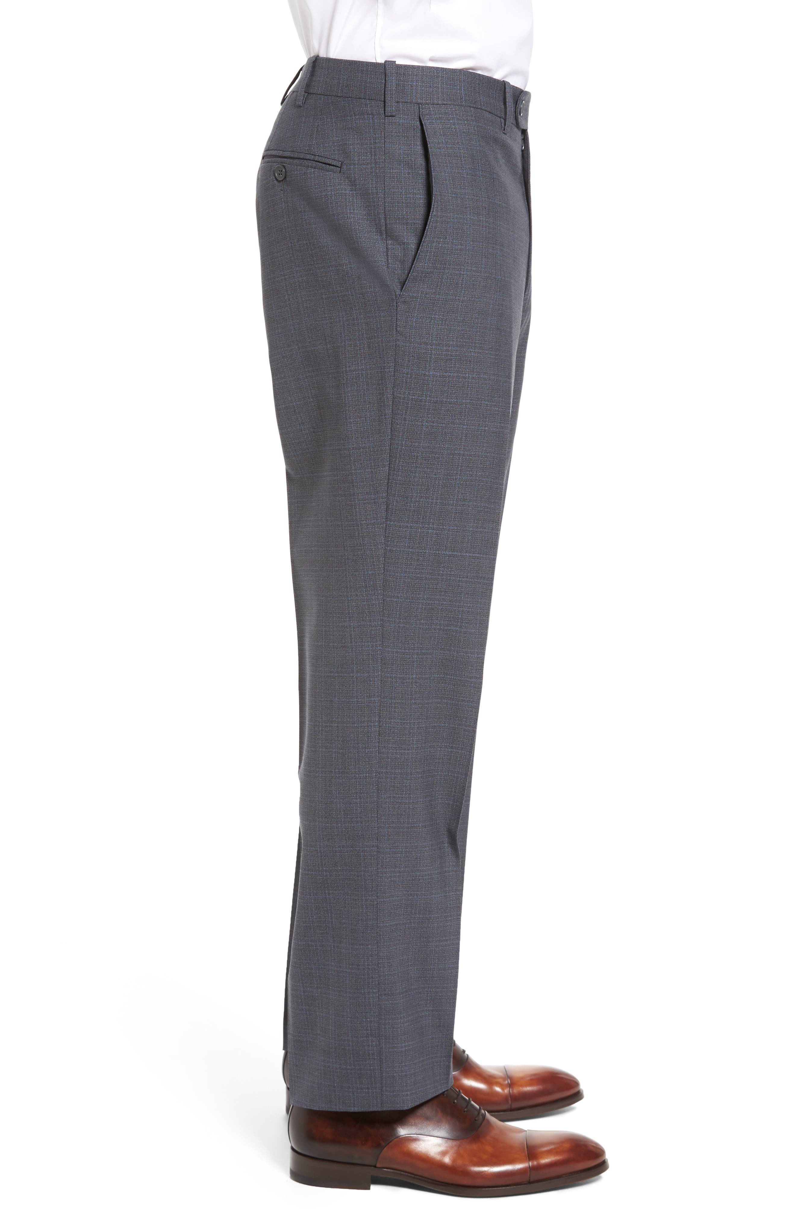Flat Front Plaid Wool Trousers,                             Alternate thumbnail 11, color,