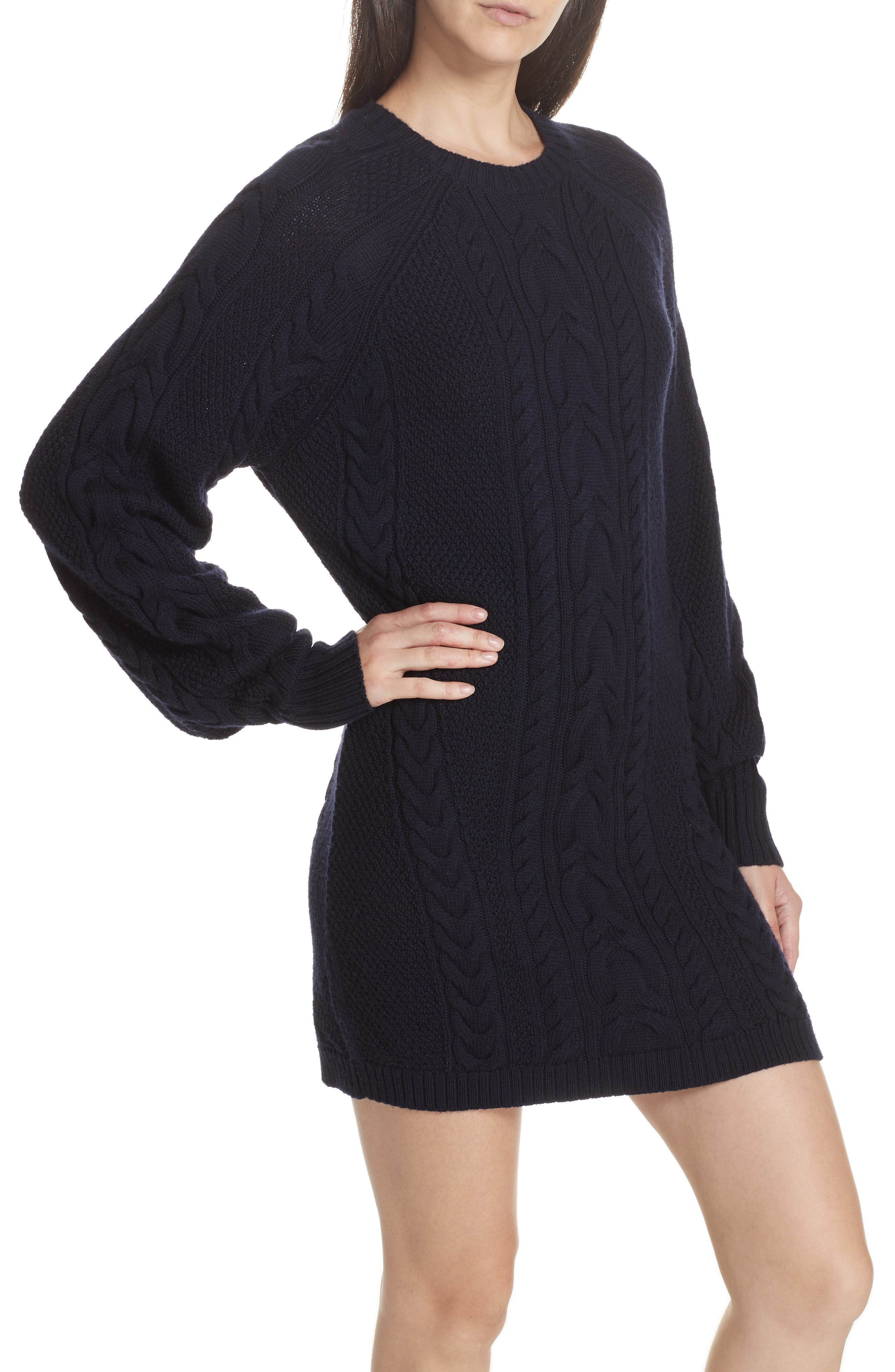 Cable Sweater Dress,                             Alternate thumbnail 3, color,                             410
