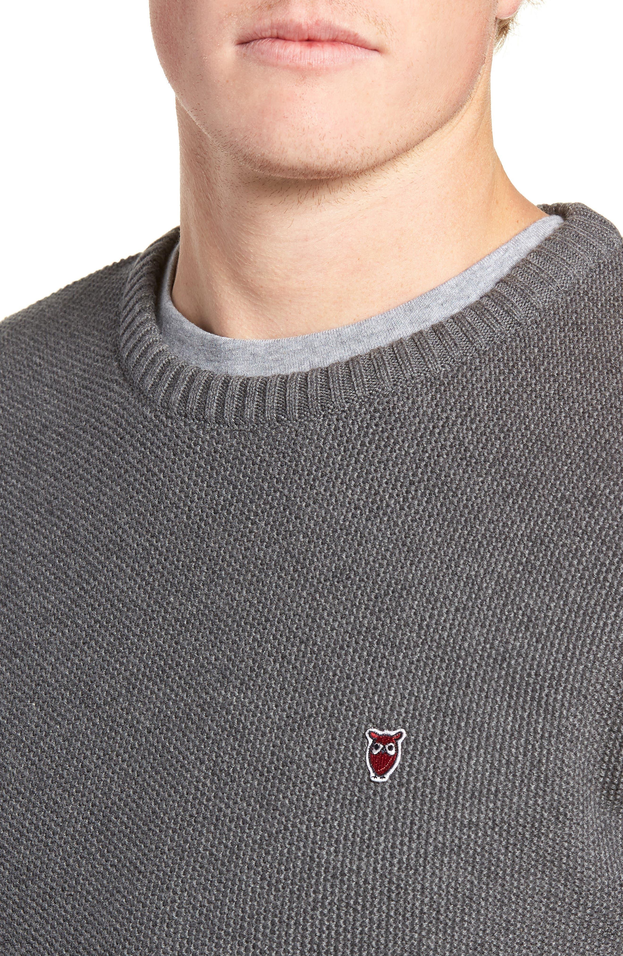 Owl Textured Sweater,                             Alternate thumbnail 4, color,                             GREY MELANGE