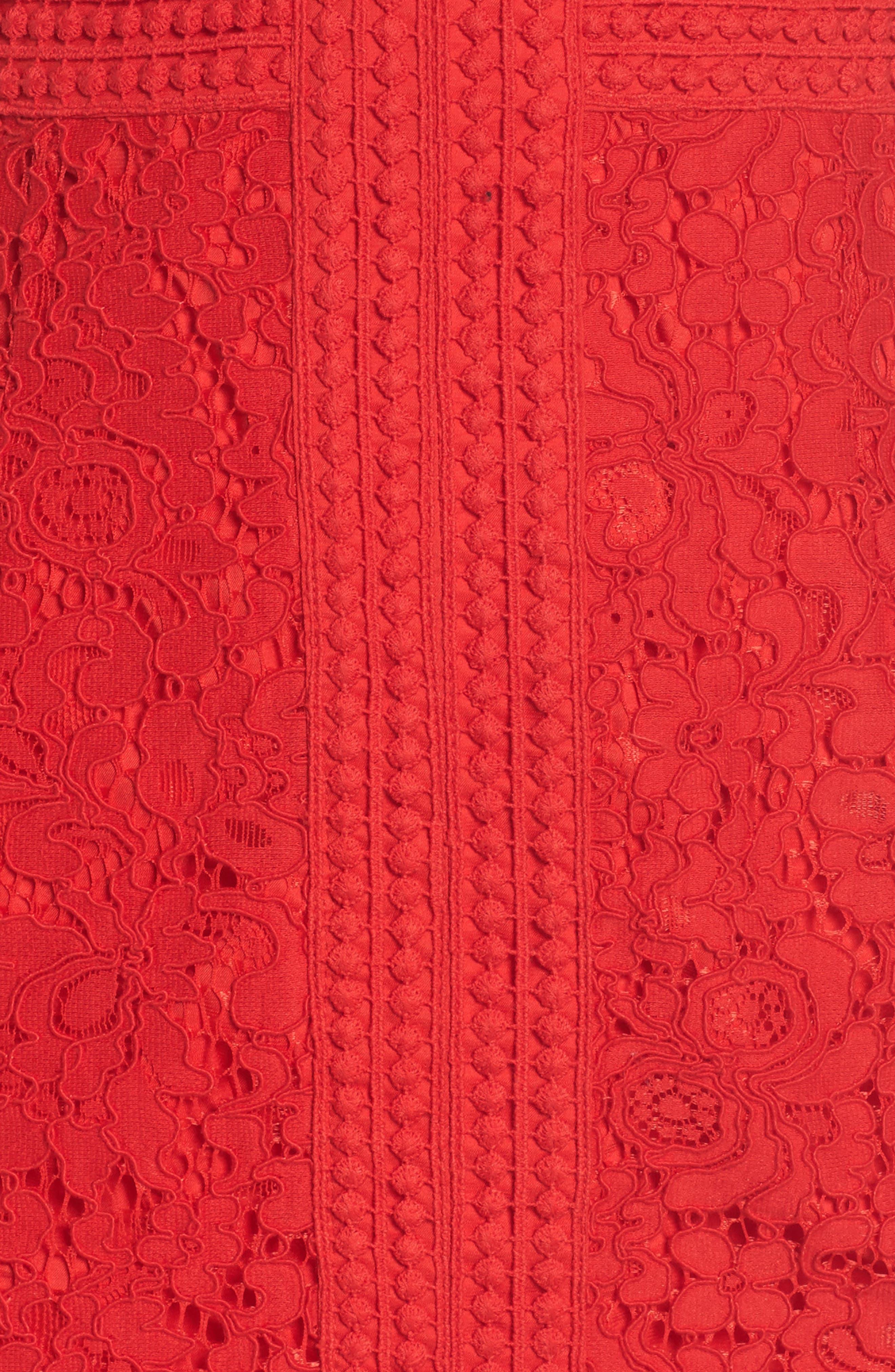 Morgan Front Slit Lace Sheath Dress,                             Alternate thumbnail 6, color,                             LIPSTICK