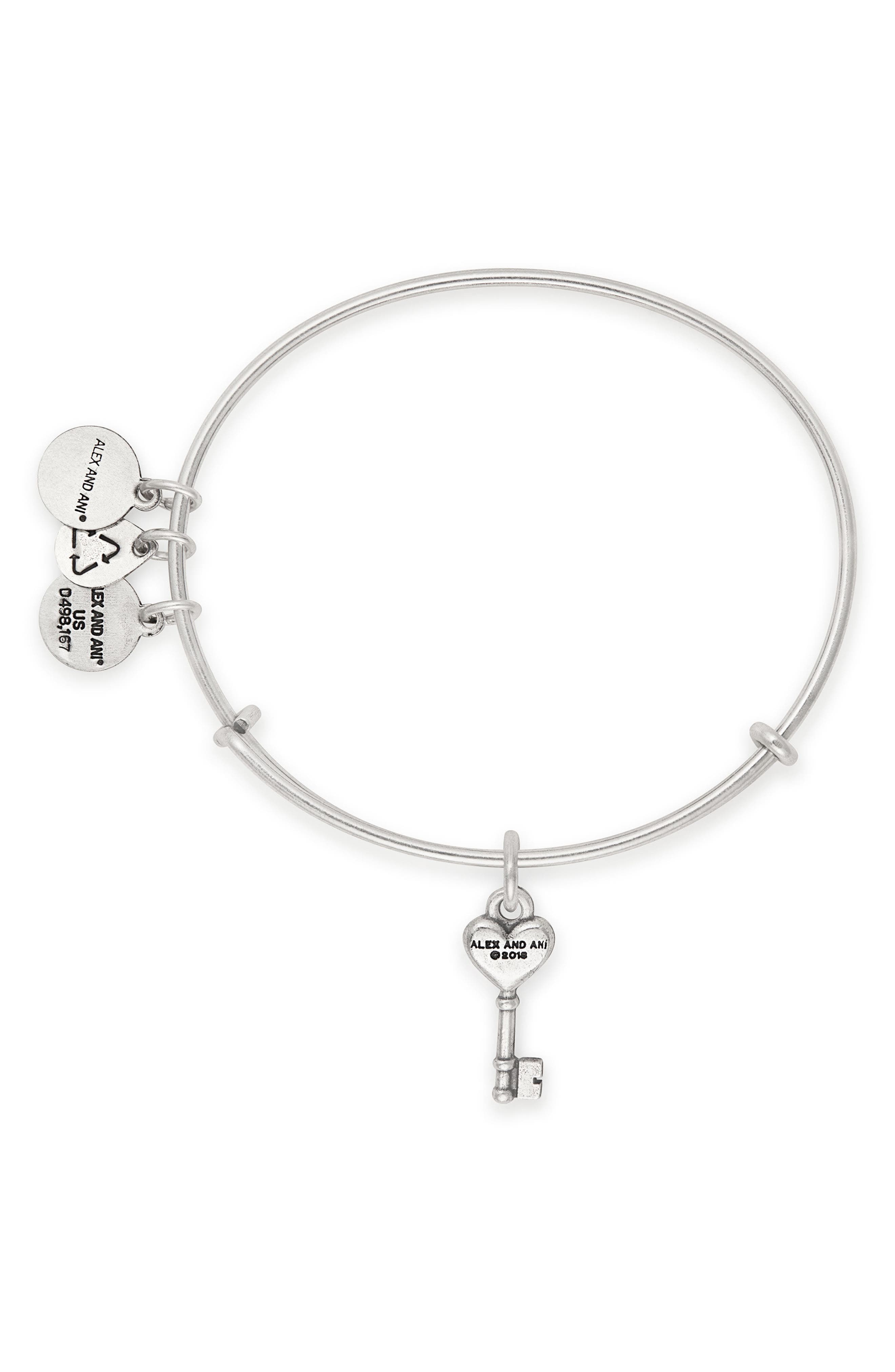 Key to Love Adjustable Wire Bangle,                             Alternate thumbnail 2, color,                             040