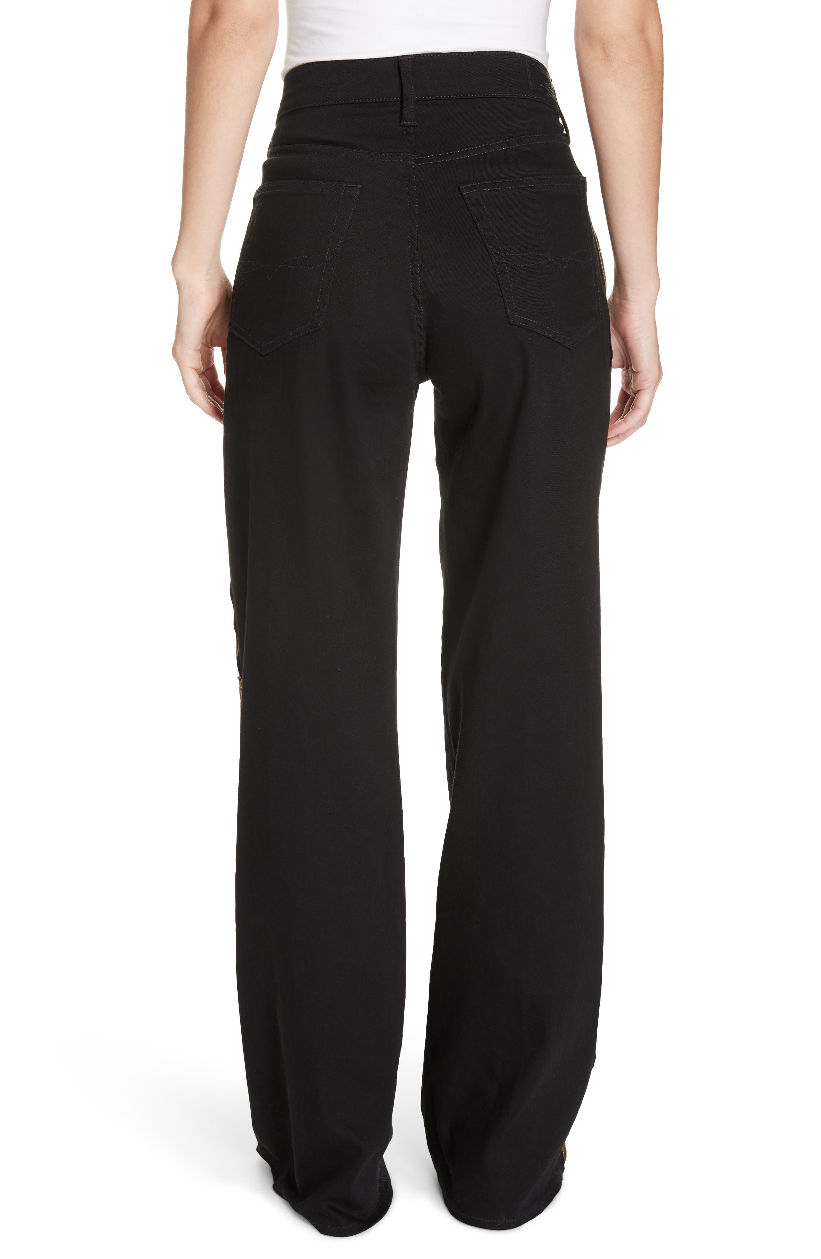 Wide Leg Denim Pants,                             Alternate thumbnail 2, color,                             BLACK