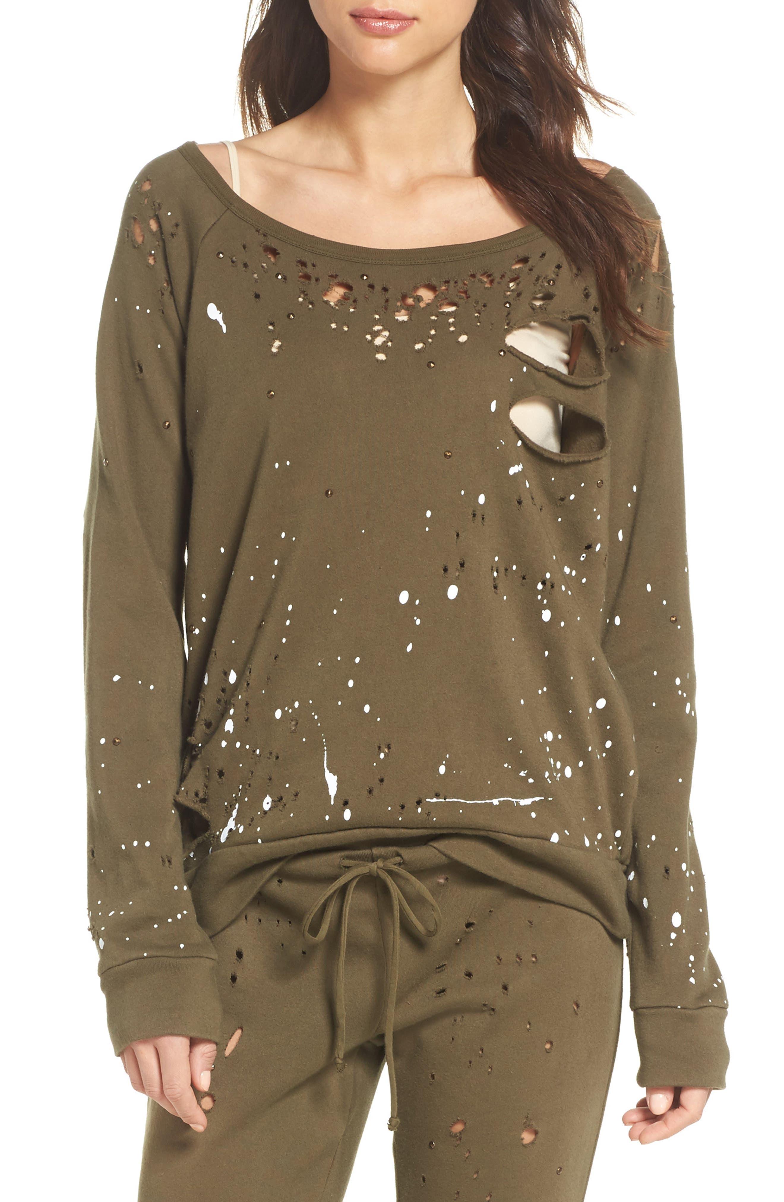 Distressed Fleece Sweatshirt,                             Main thumbnail 2, color,