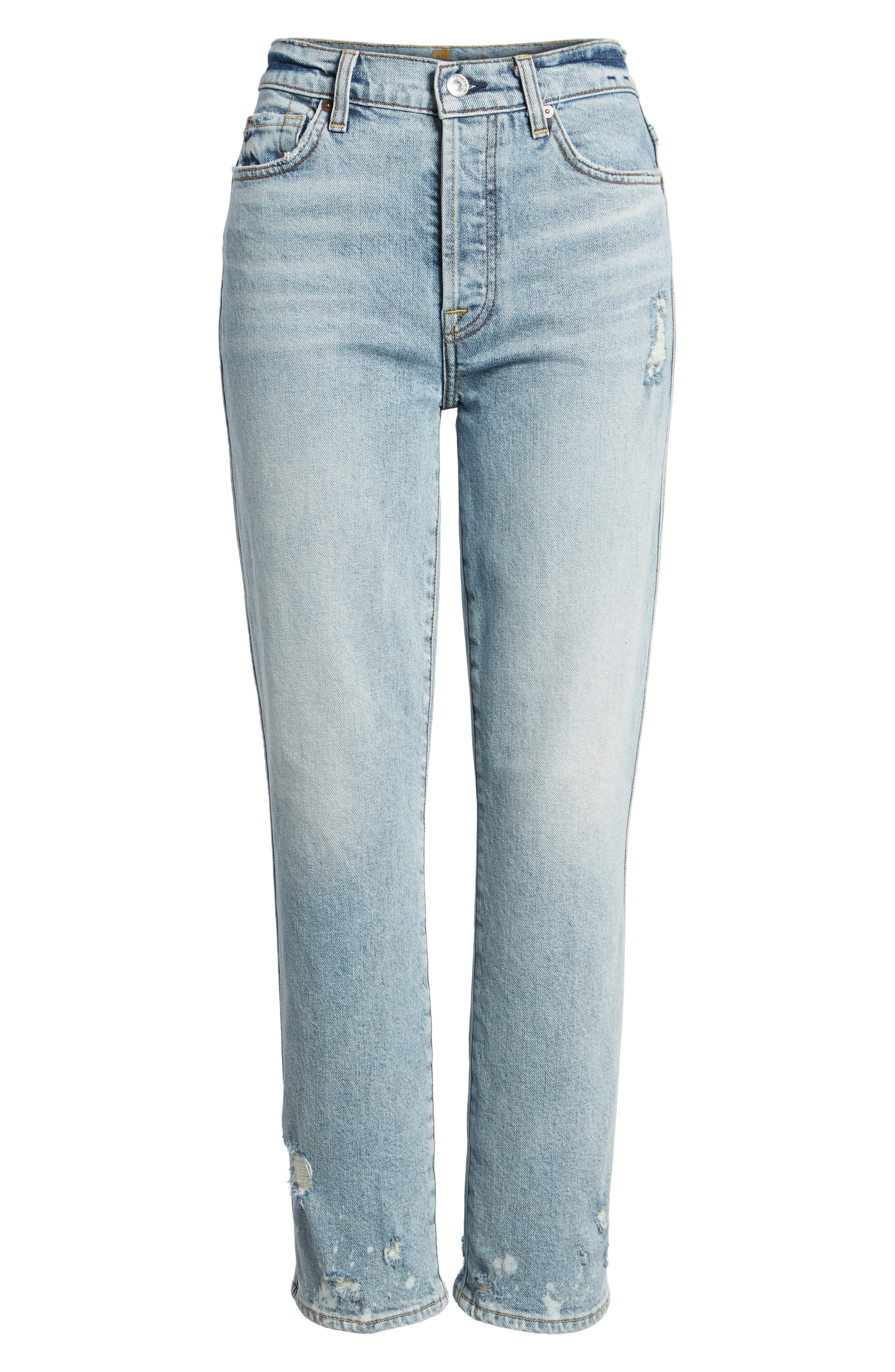 Edie High Waist Crop Straight Leg Jeans,                             Alternate thumbnail 7, color,                             400