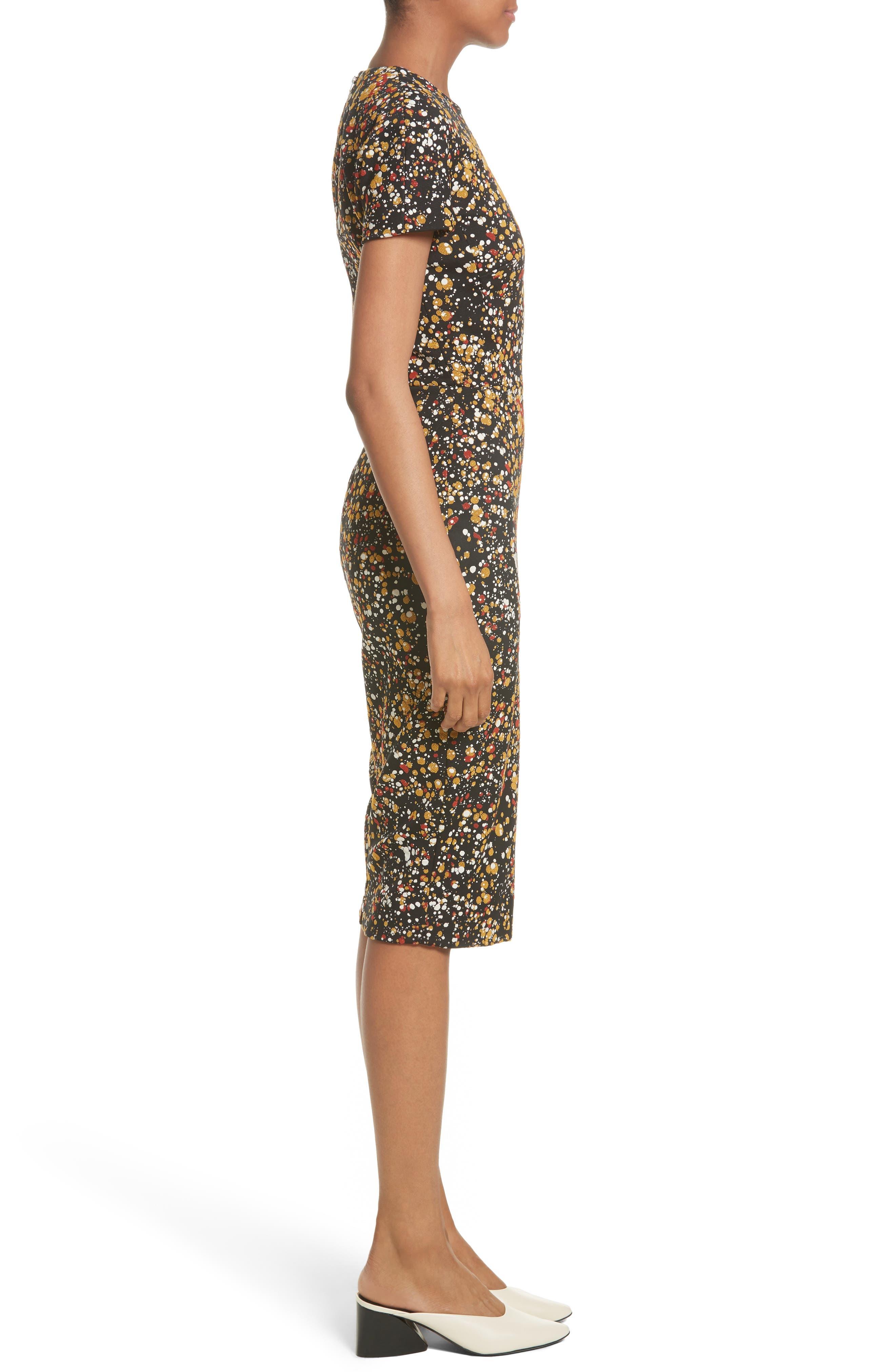 Marble Jacquard Dress,                             Alternate thumbnail 3, color,                             001