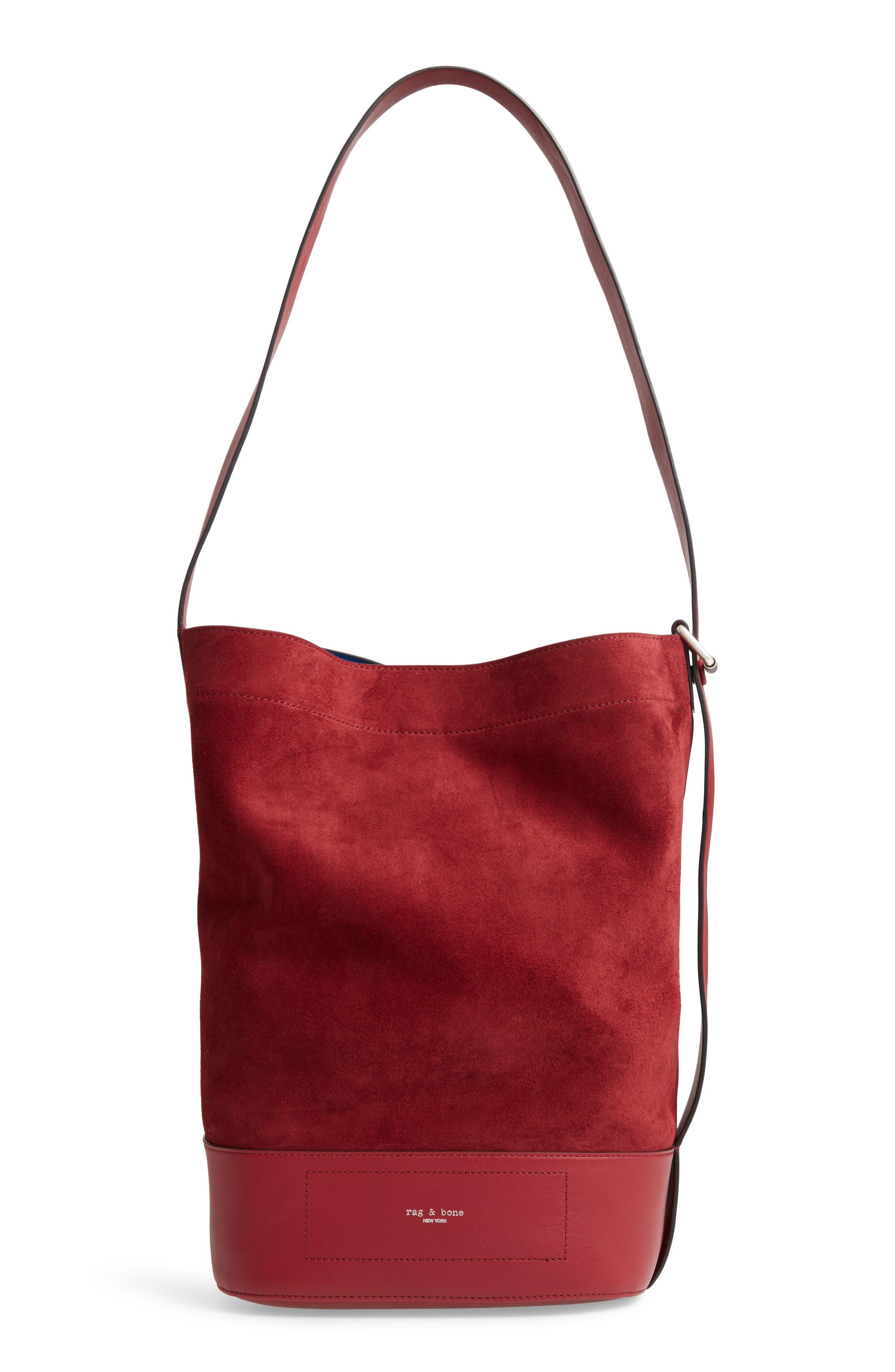 Walker Sling Suede Bucket Bag,                             Main thumbnail 1, color,                             BIKING RED MULTI
