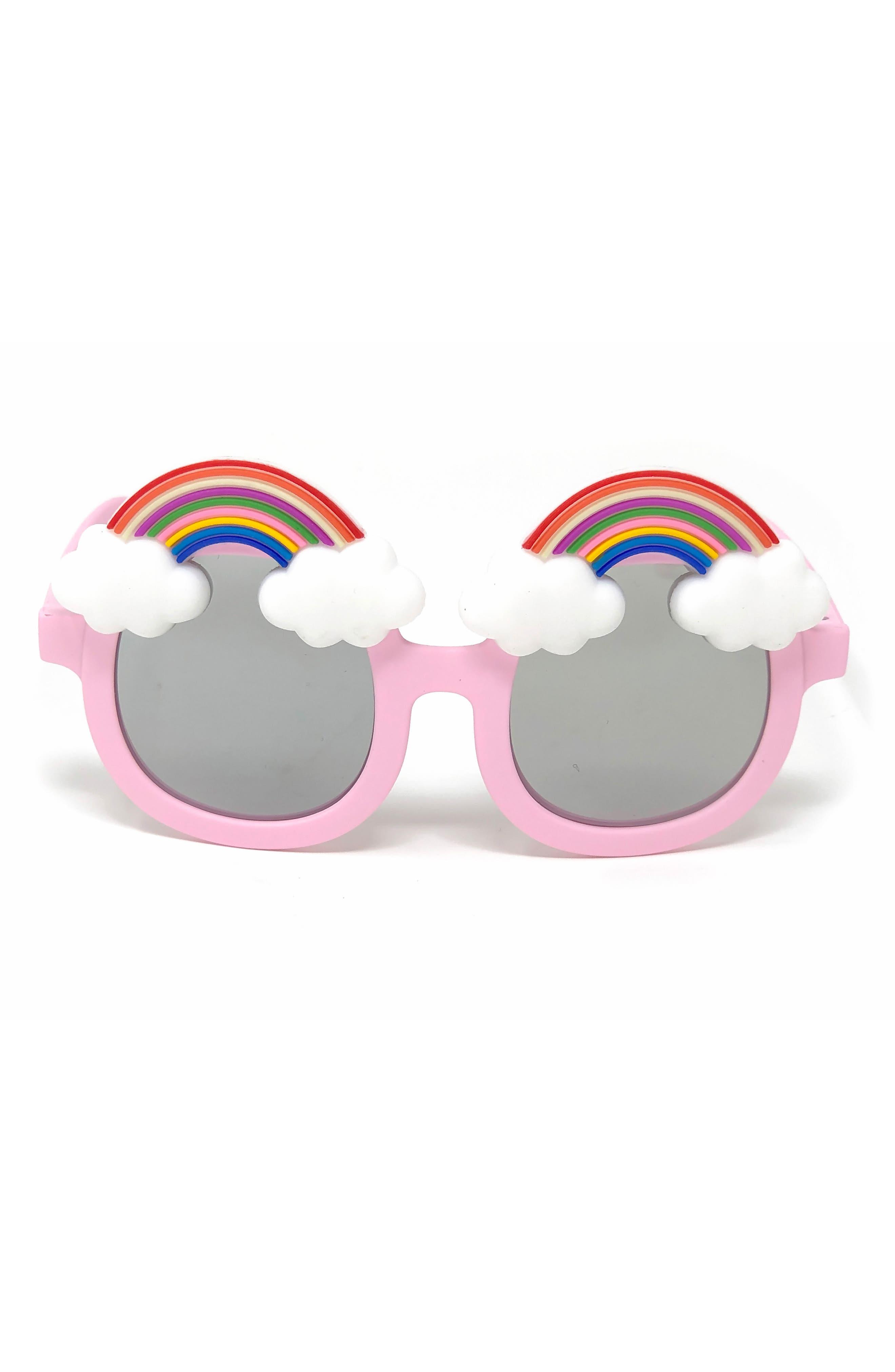 Rainbow Mirrored Sunglasses,                             Alternate thumbnail 3, color,                             PINK
