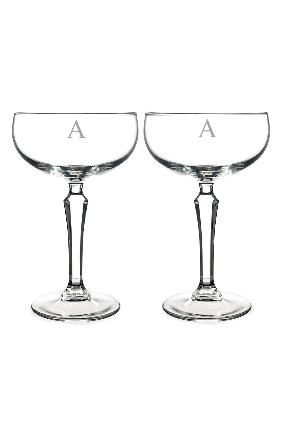 Monogram Coupe Cocktail/Champagne Glasses,                             Main thumbnail 3, color,