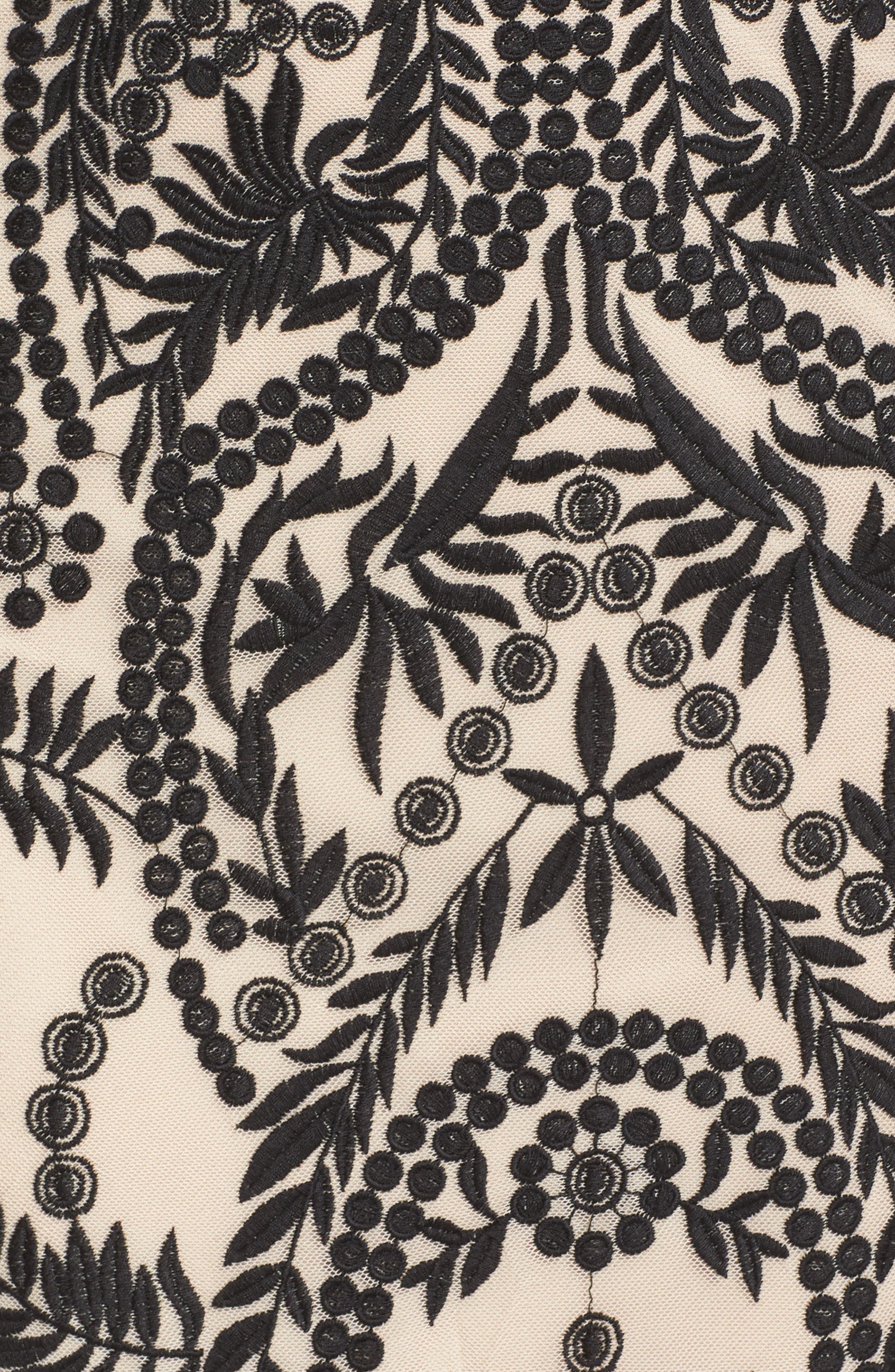 Mesh Halter Midi Dress,                             Alternate thumbnail 5, color,                             019