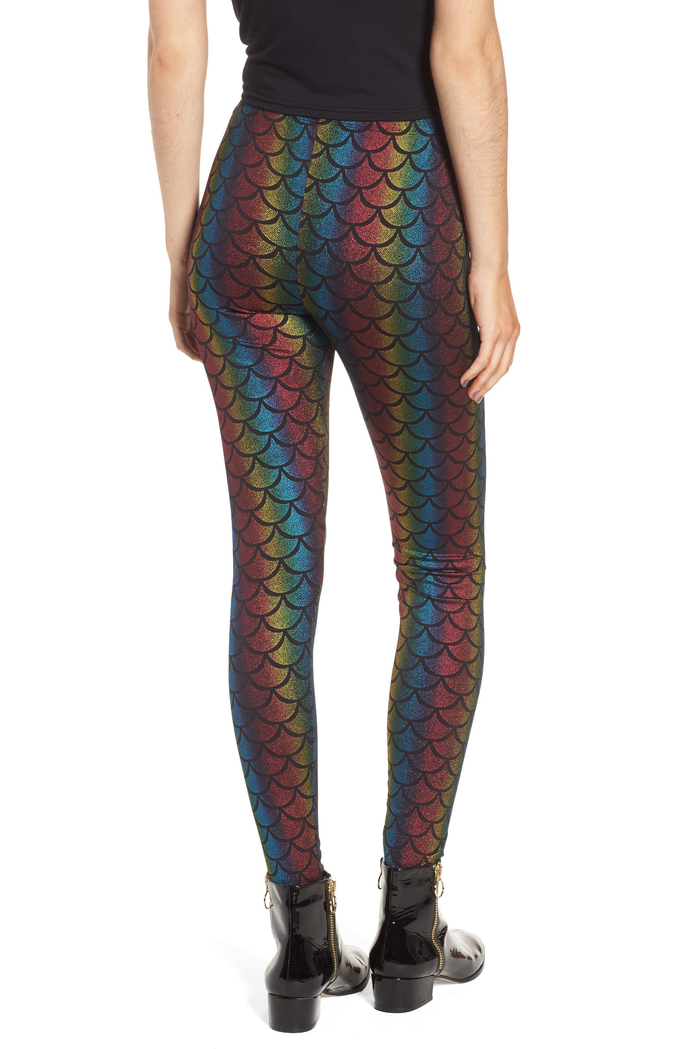 Rainbow Mermaid Leggings,                             Alternate thumbnail 2, color,                             001