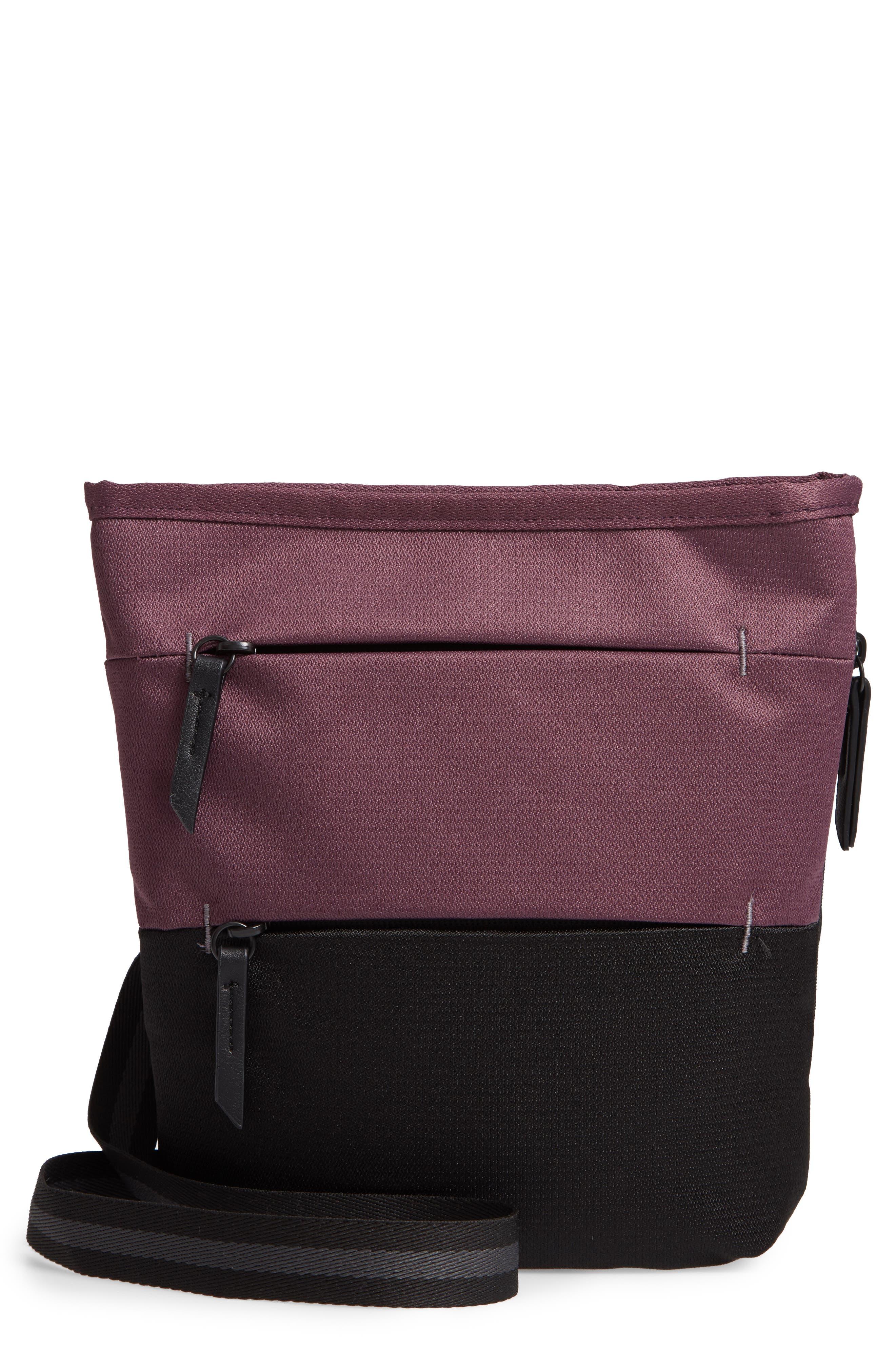 Sadie Medium RFID Crossbody Bag,                             Main thumbnail 1, color,                             PURPLE DAHLIA/ BLACK