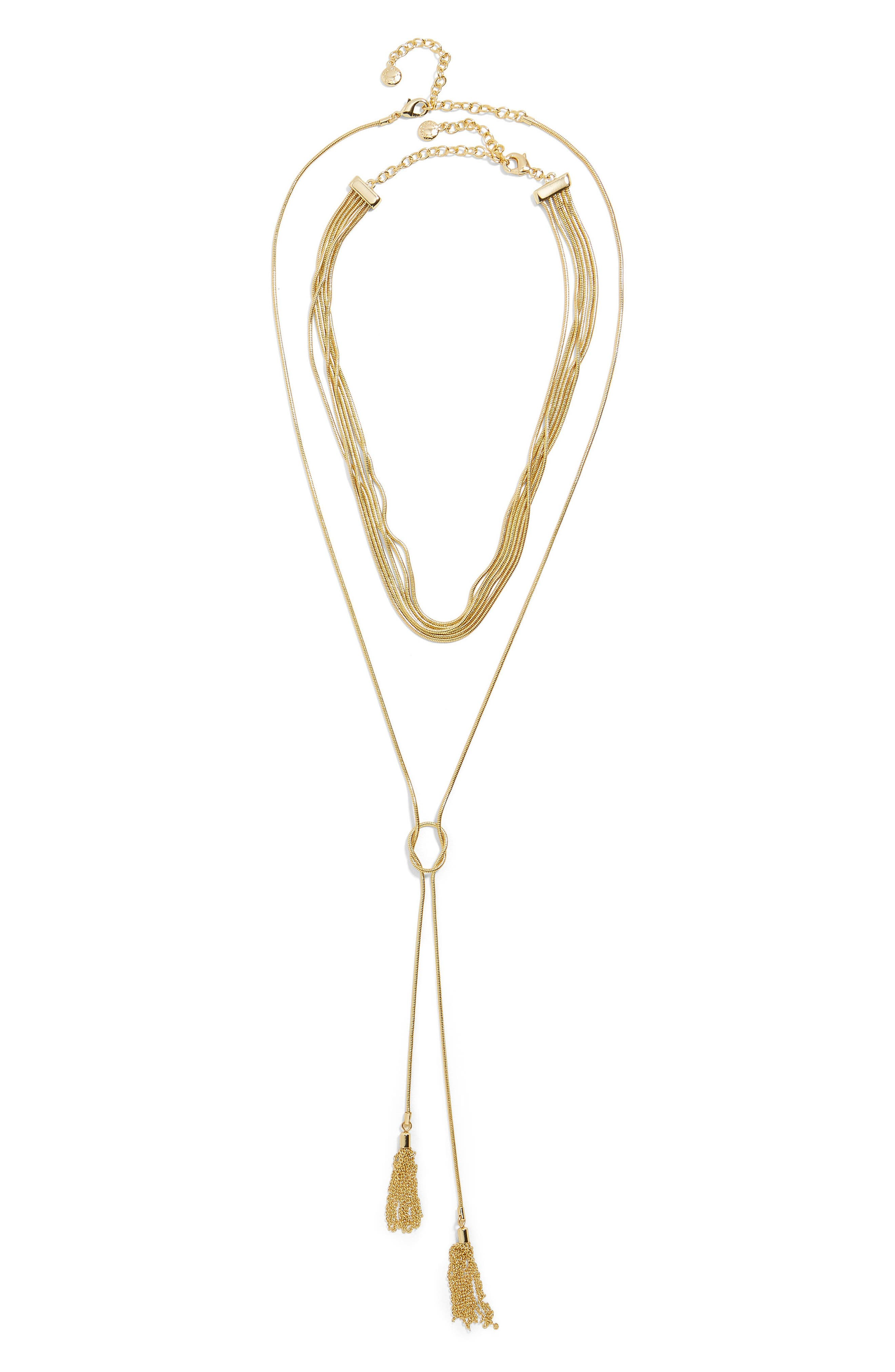 Delania Set of 2 Layered & Lariat Necklaces,                             Alternate thumbnail 2, color,                             GOLD