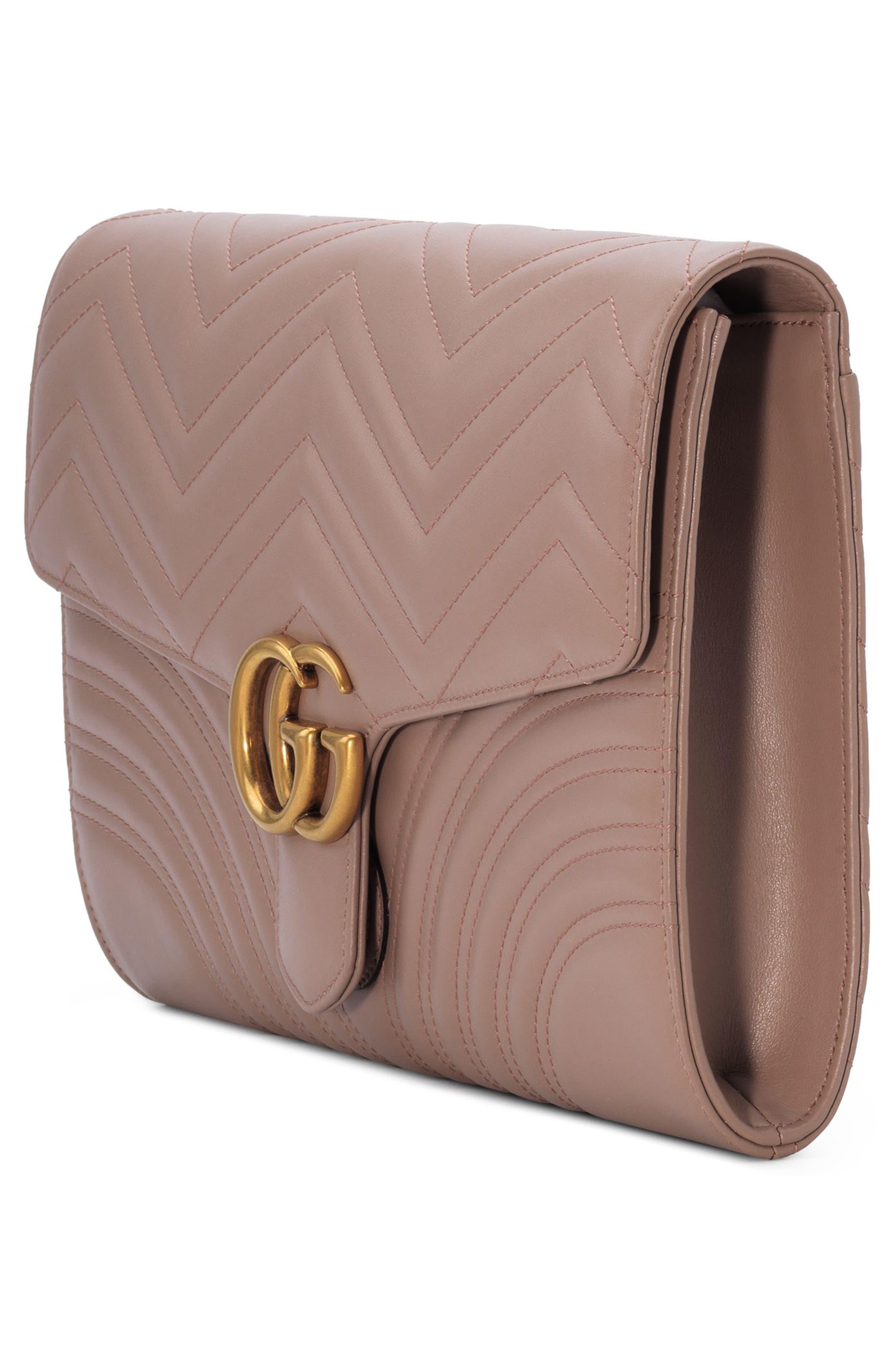 GG Marmont 2.0 Matelassé Leather Clutch,                             Alternate thumbnail 15, color,