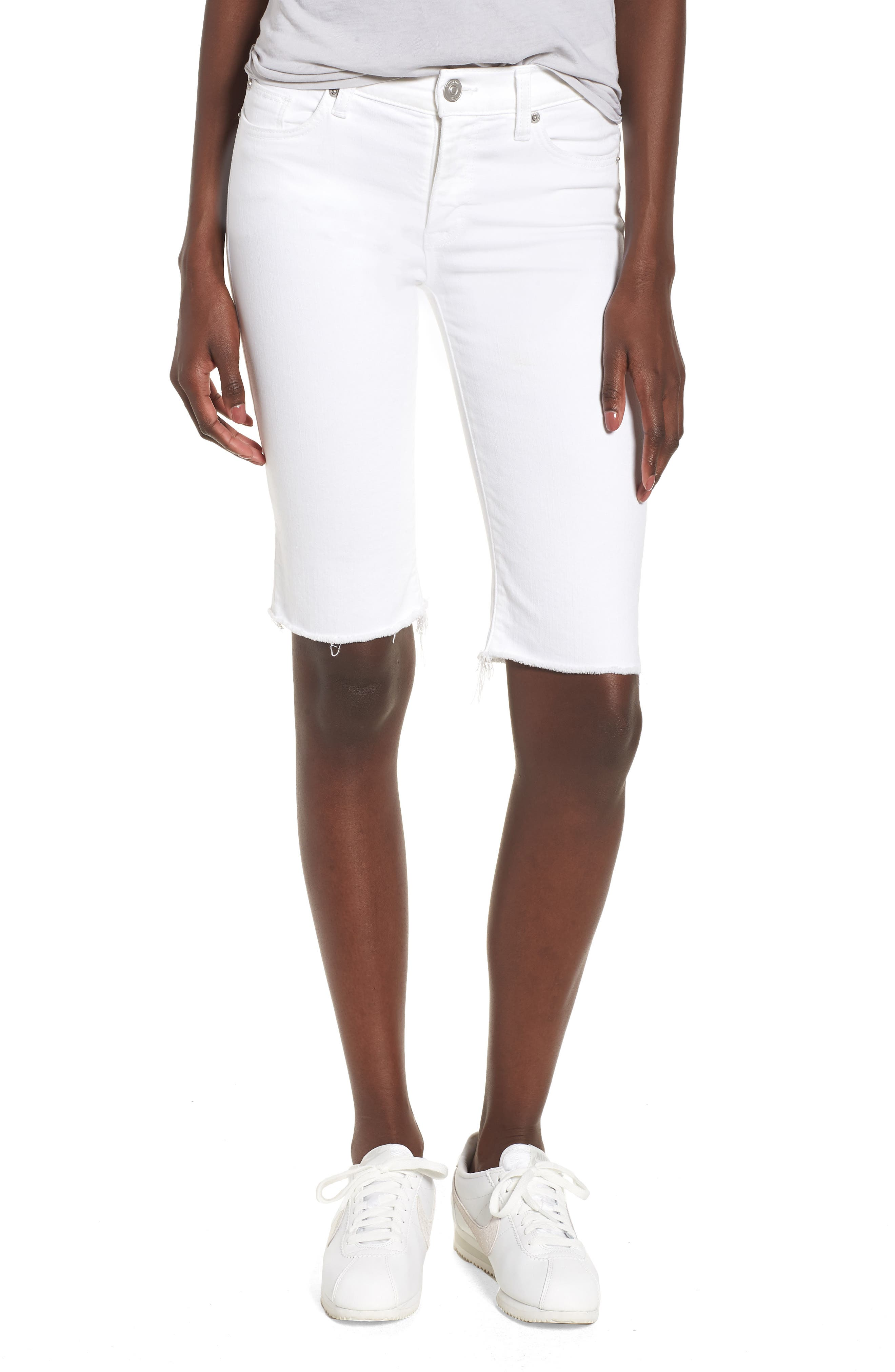 Amelia Cutoff Knee Shorts,                             Main thumbnail 1, color,                             OPTICAL WHITE