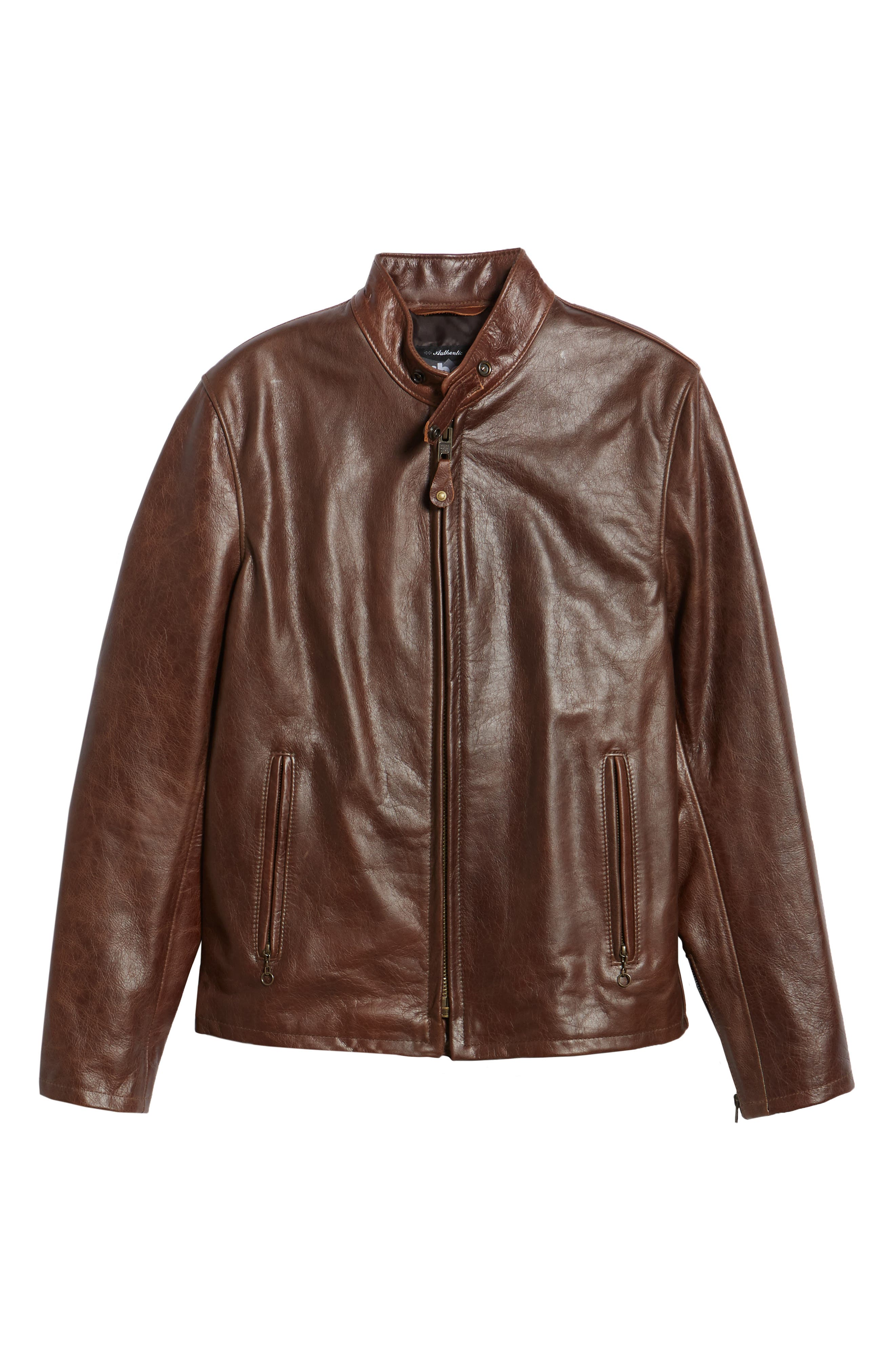 Café Racer Waxy Cowhide Leather Jacket,                             Alternate thumbnail 6, color,                             BROWN