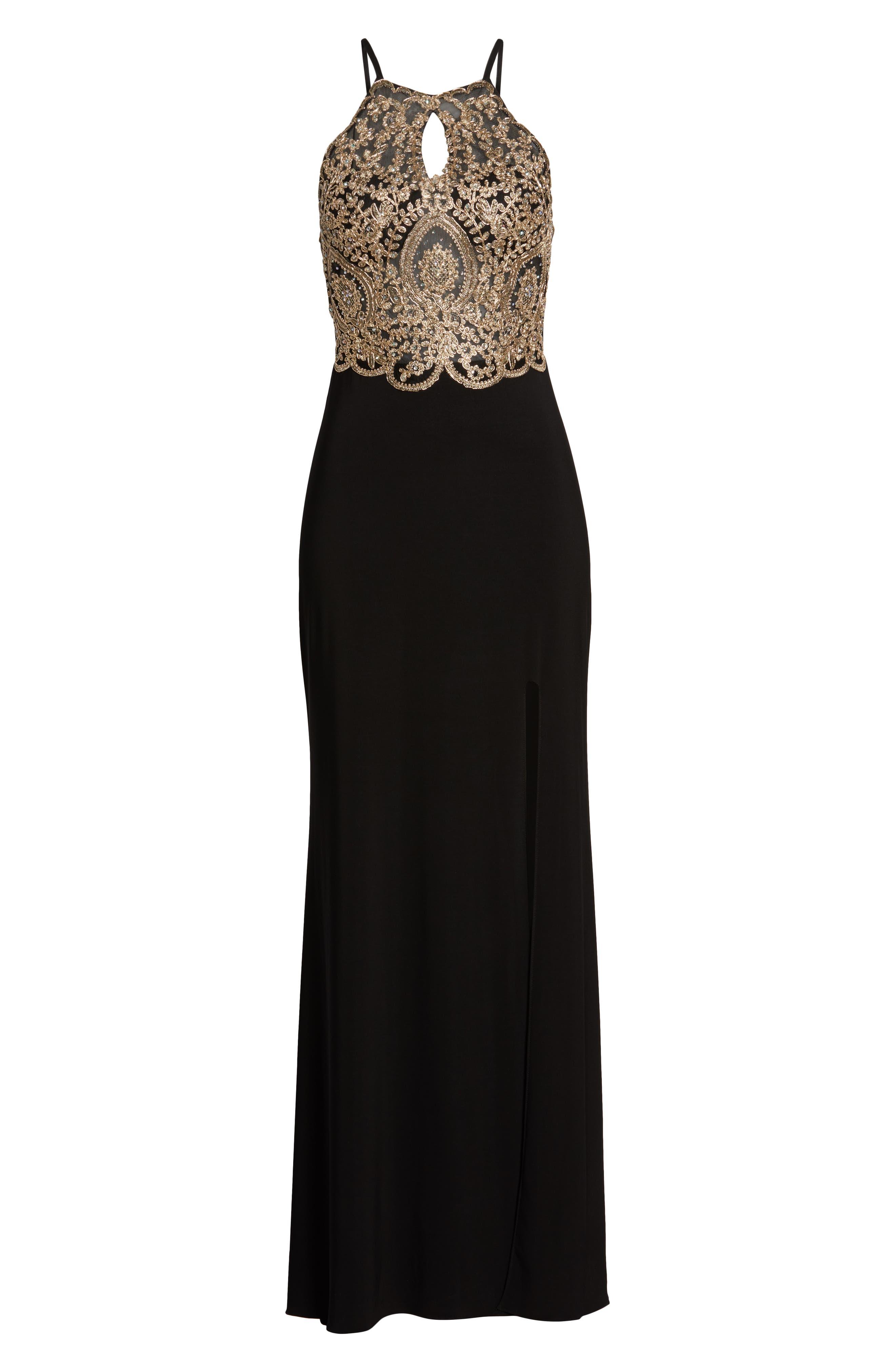 BLONDIE NITES,                             Embellished Appliqué Halter Gown,                             Alternate thumbnail 7, color,                             BLACK/ GOLD