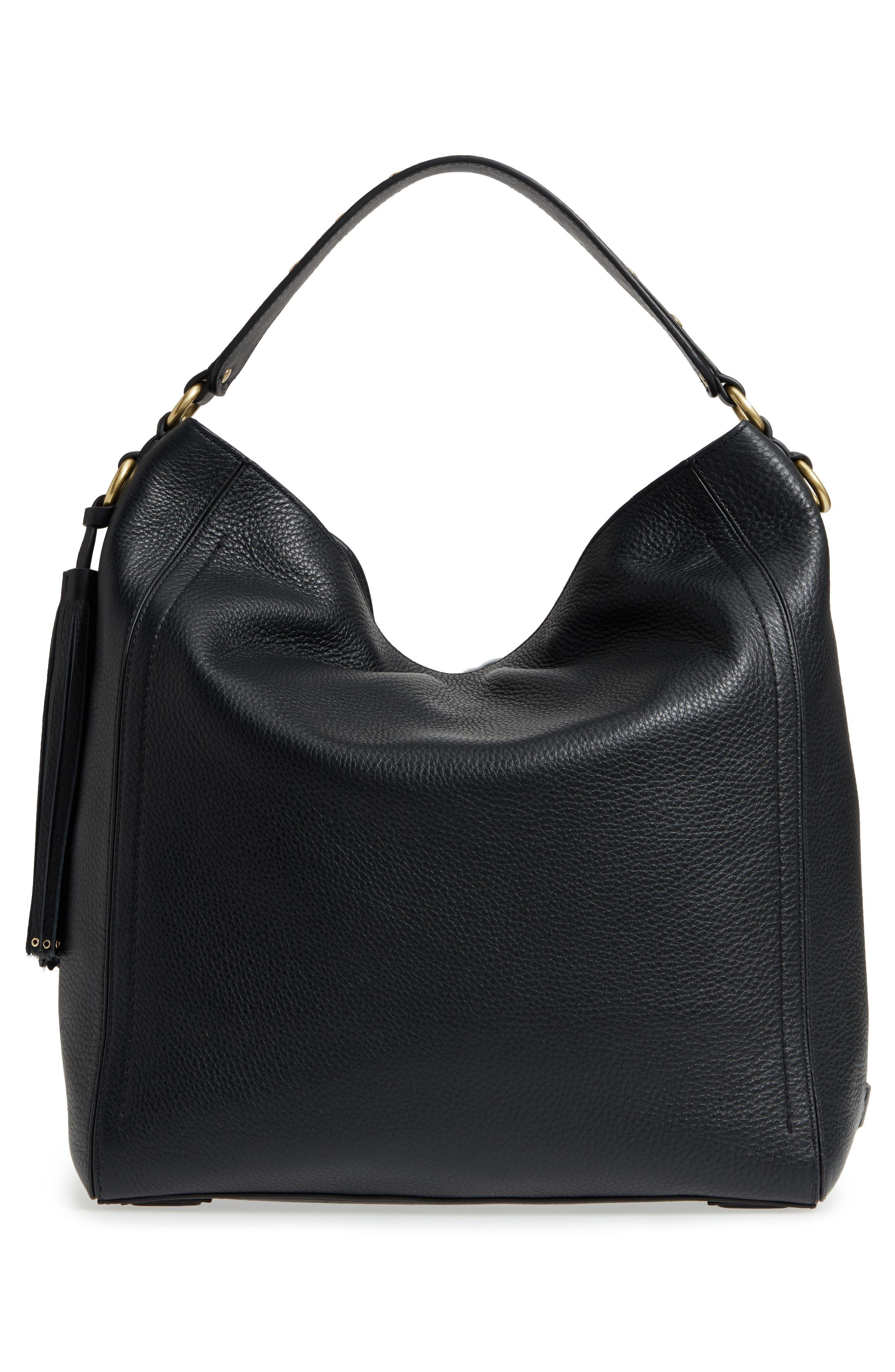 Cassidy RFID Pebbled Leather Bucket Bag,                             Alternate thumbnail 3, color,                             001