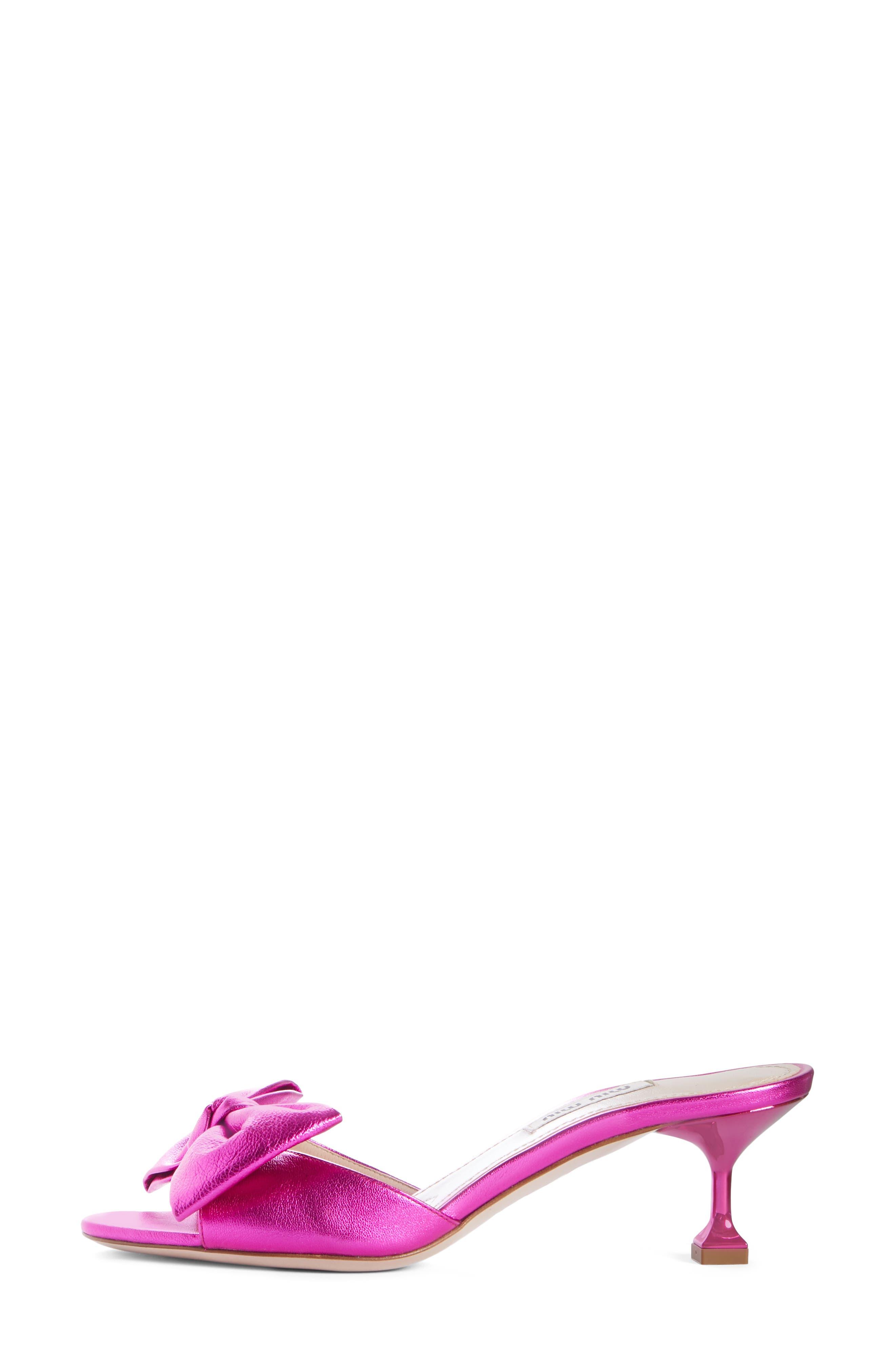 Bow Slide Sandal,                             Alternate thumbnail 3, color,                             FUCHSIA