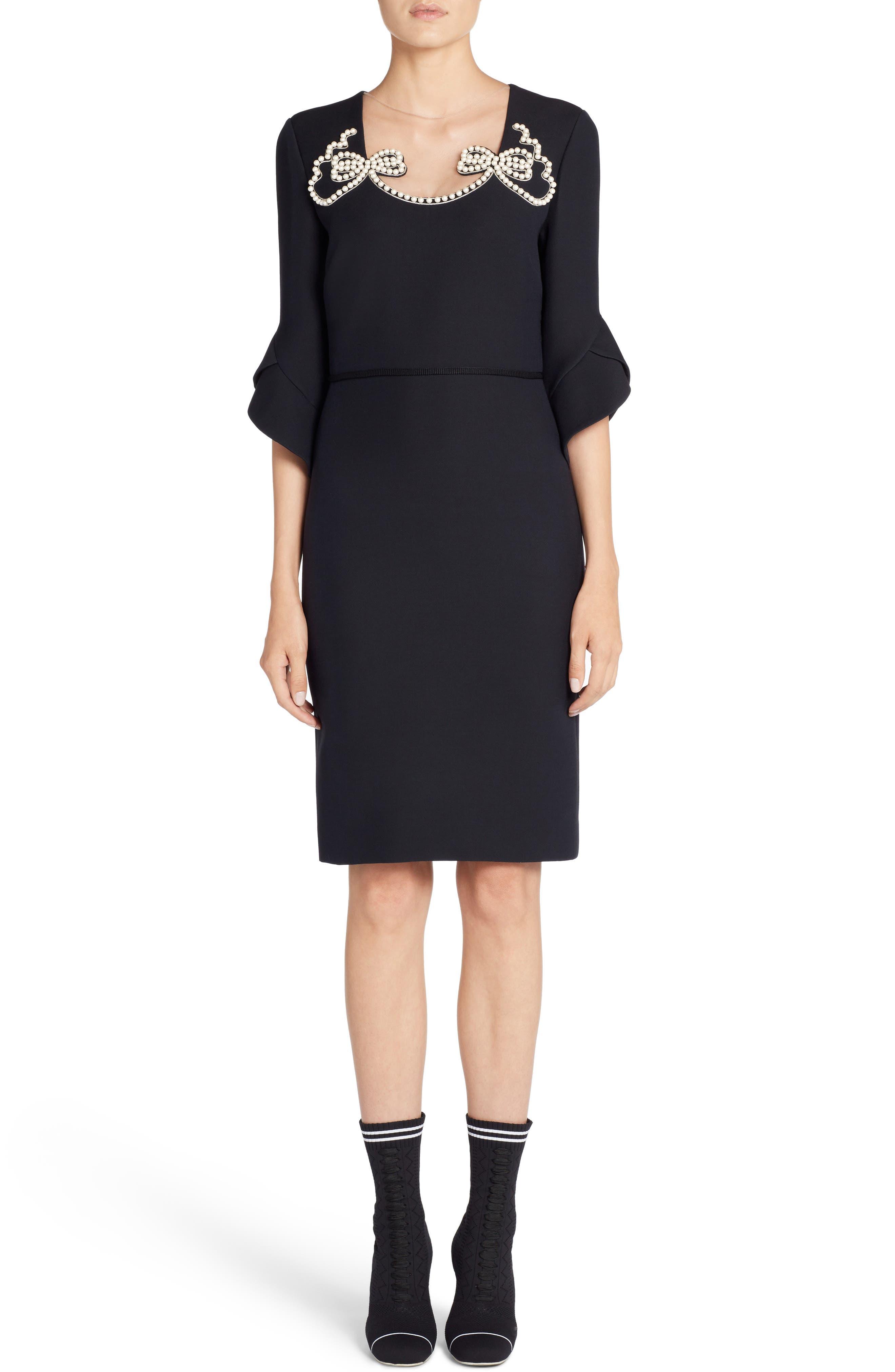 Embellished Wool & Silk Gazar Dress,                         Main,                         color, 001