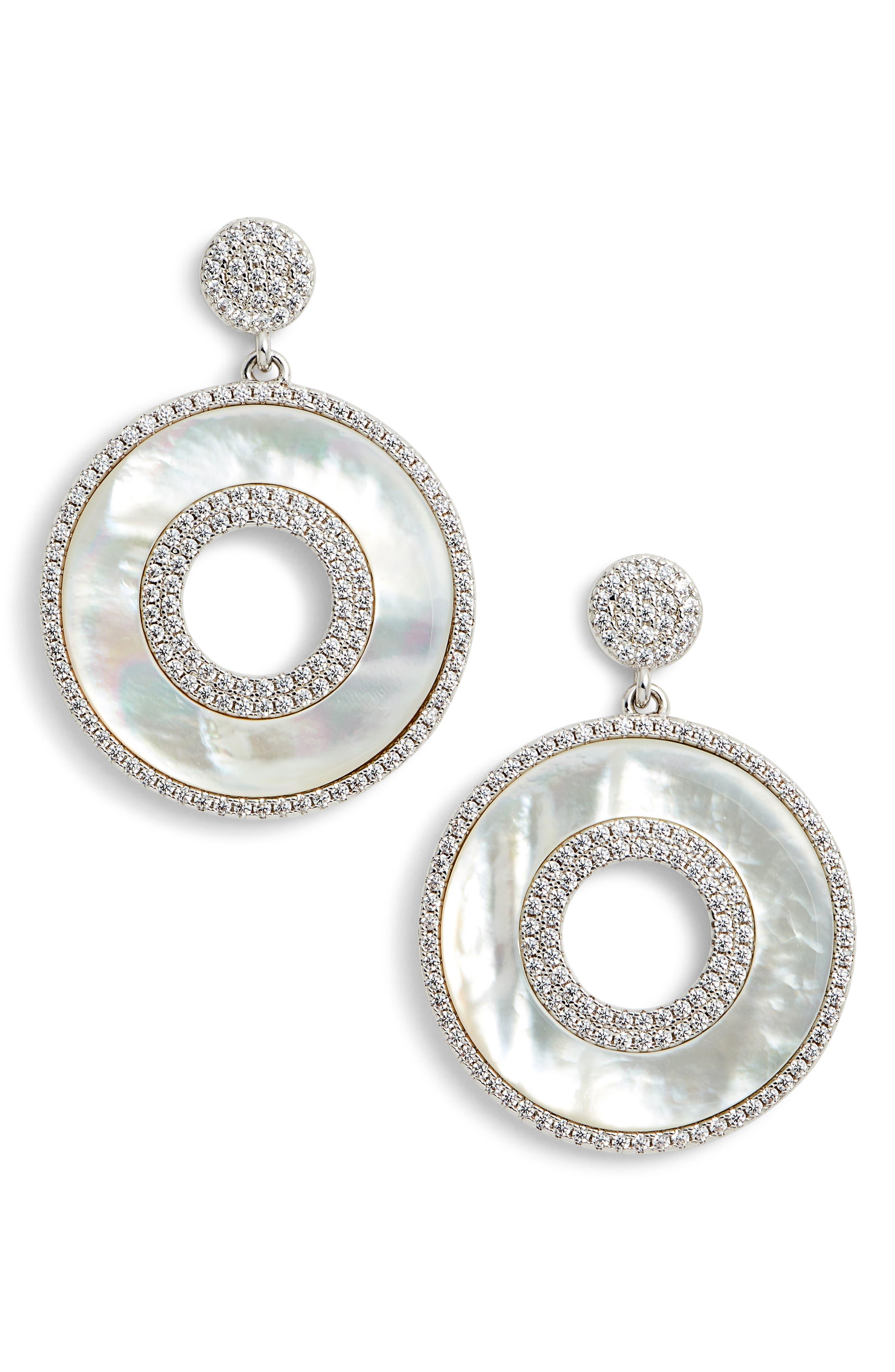 NINA,                             Mother of Pearl Drop Earrings,                             Main thumbnail 1, color,                             040