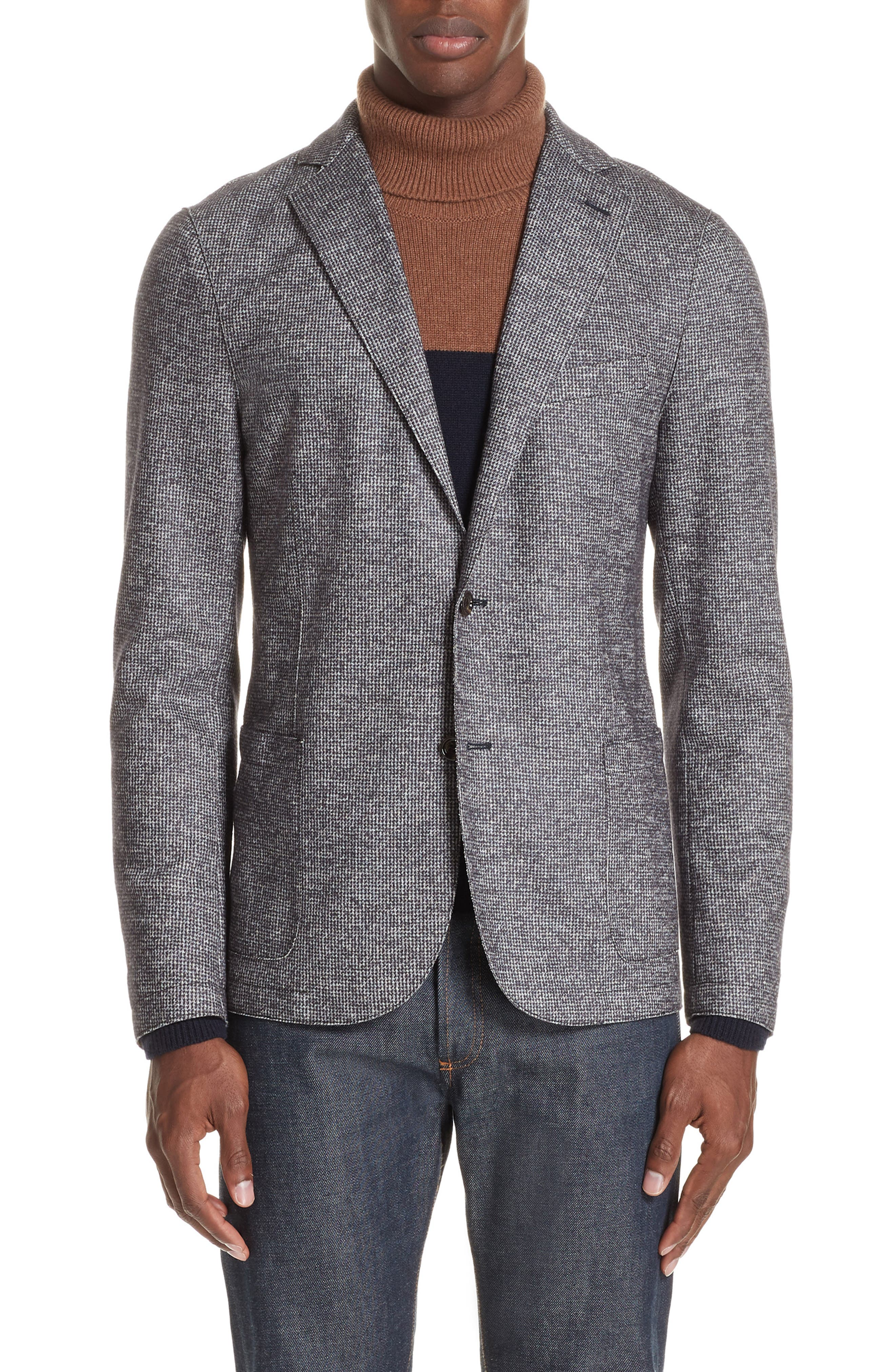 Trim Fit Houndstooth Wool & Cotton Sport Coat,                             Main thumbnail 1, color,                             GREY