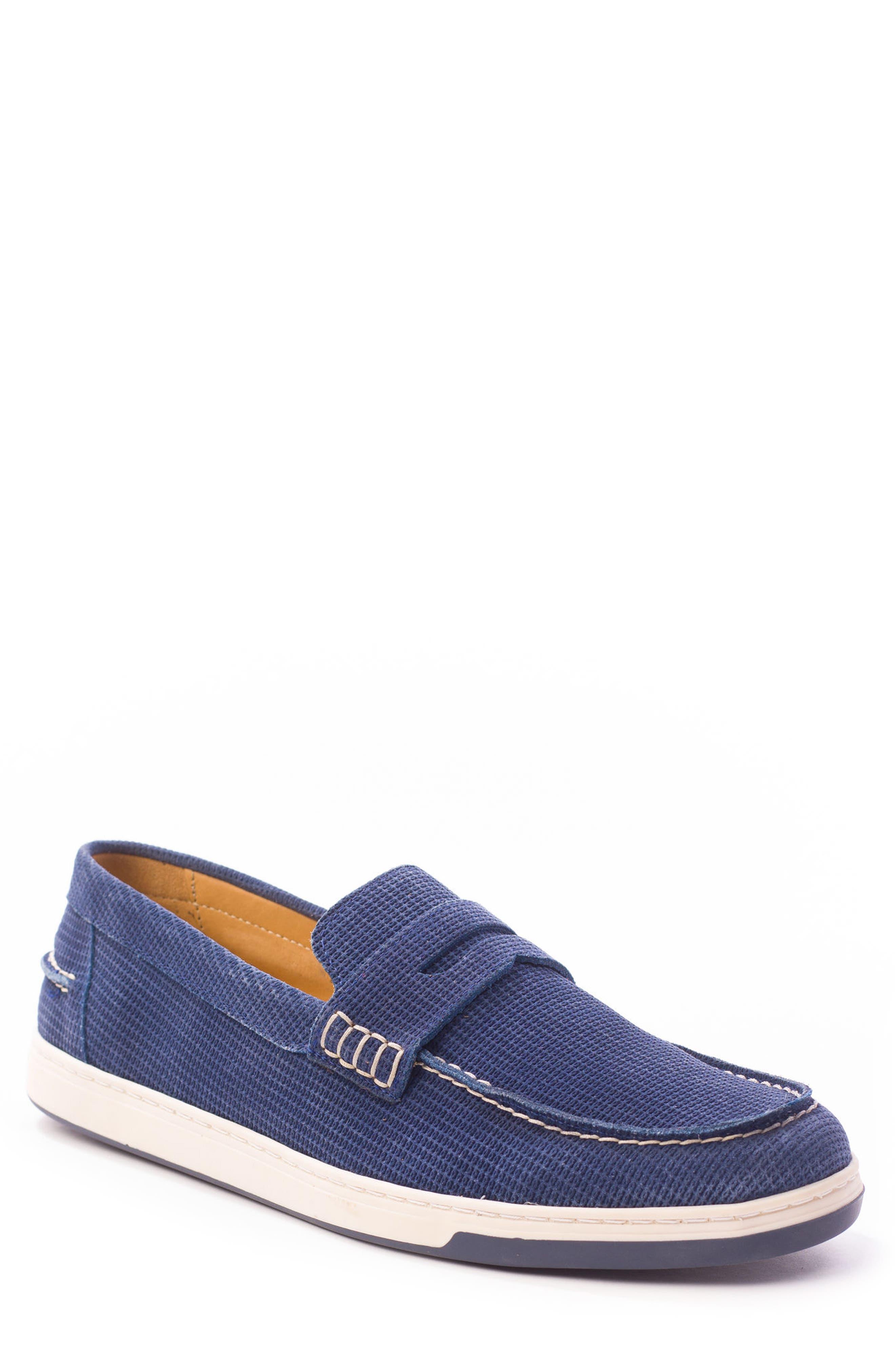 Bradford Embossed Penny Loafer Sneaker,                         Main,                         color, DARK INDIGO
