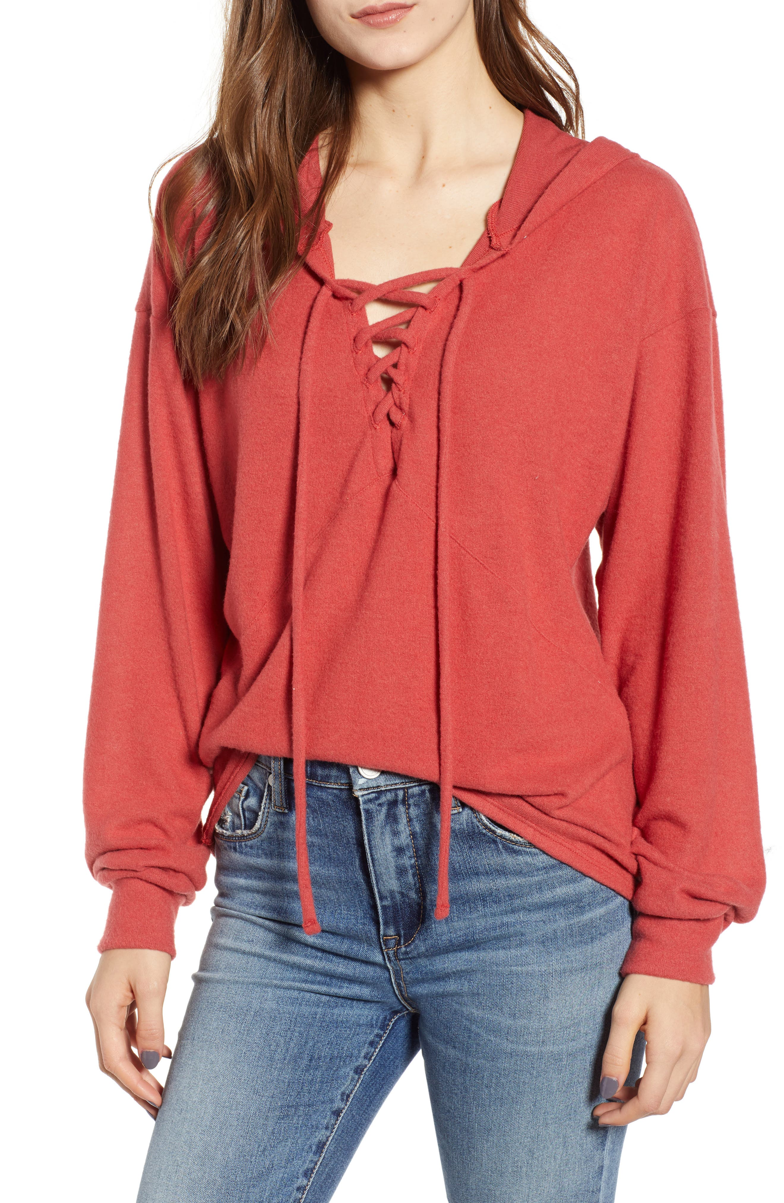 PROJECT SOCIAL T Calhoun Lace-Up Hoodie in Paprika