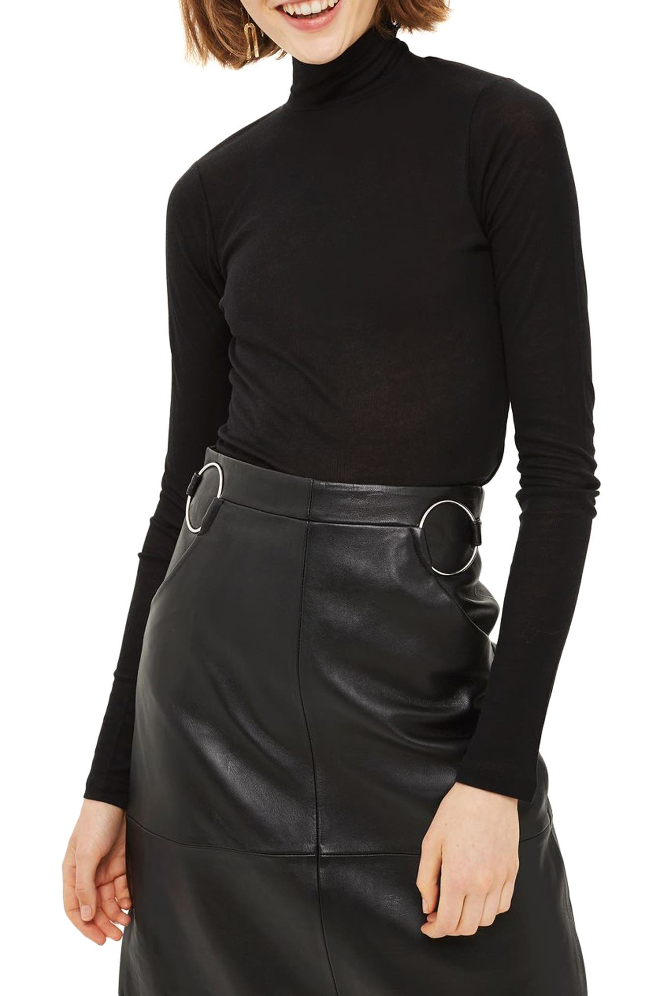 Ribbed Turtleneck Top,                             Main thumbnail 1, color,                             001