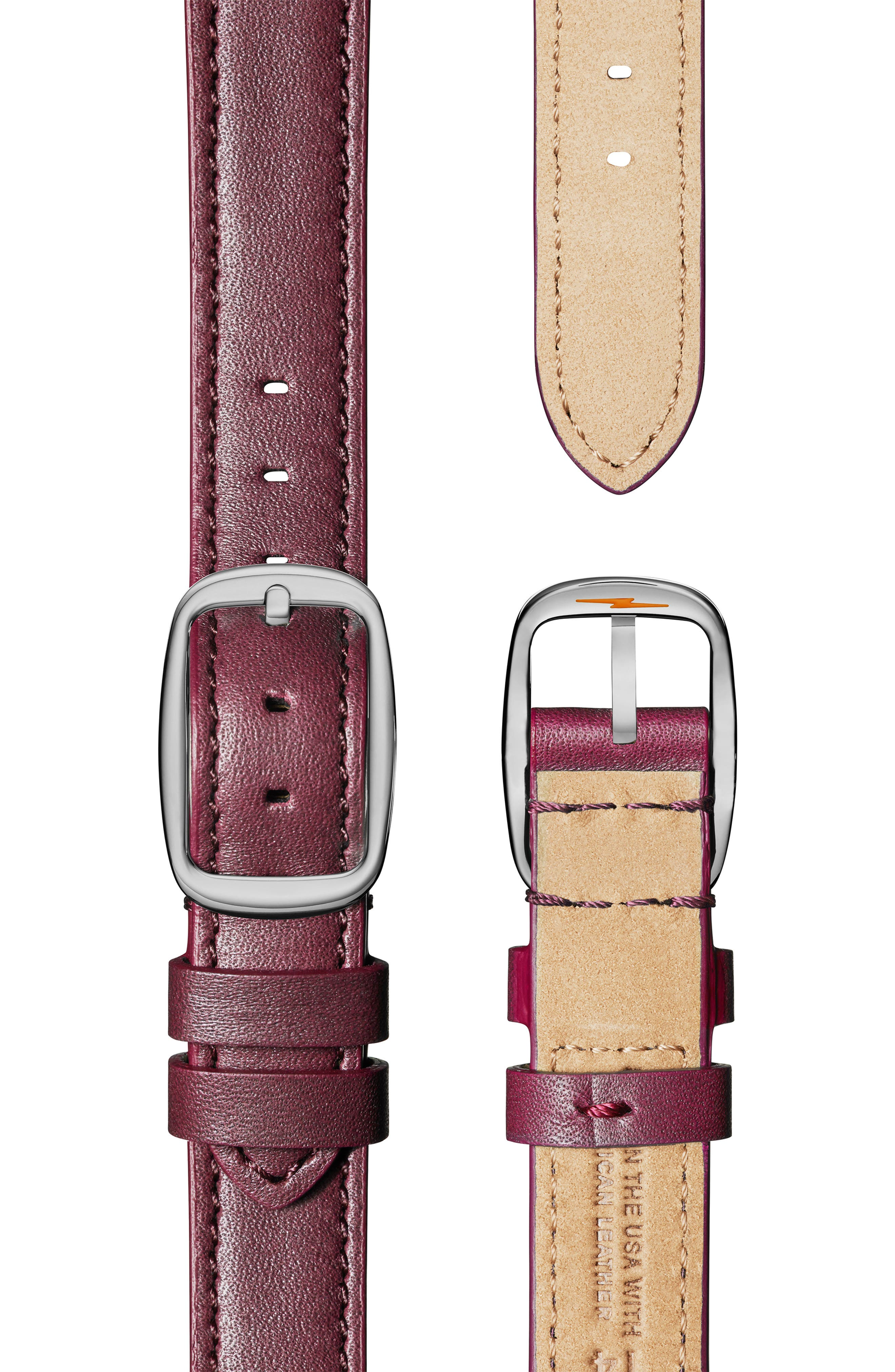 Cass Leather Strap Watch, 28mm,                             Alternate thumbnail 4, color,                             BERRY/ WHITE MOP/ SILVER
