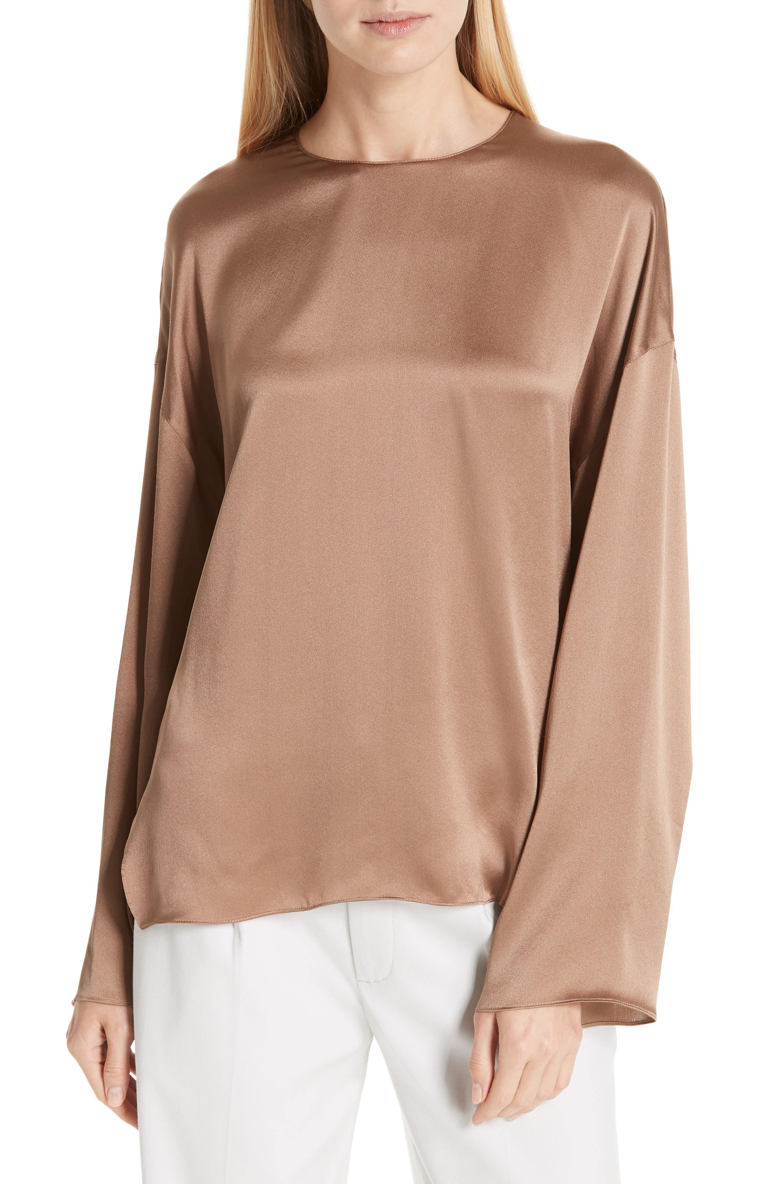 Long Sleeve Silk Blouse,                         Main,                         color, EARTH