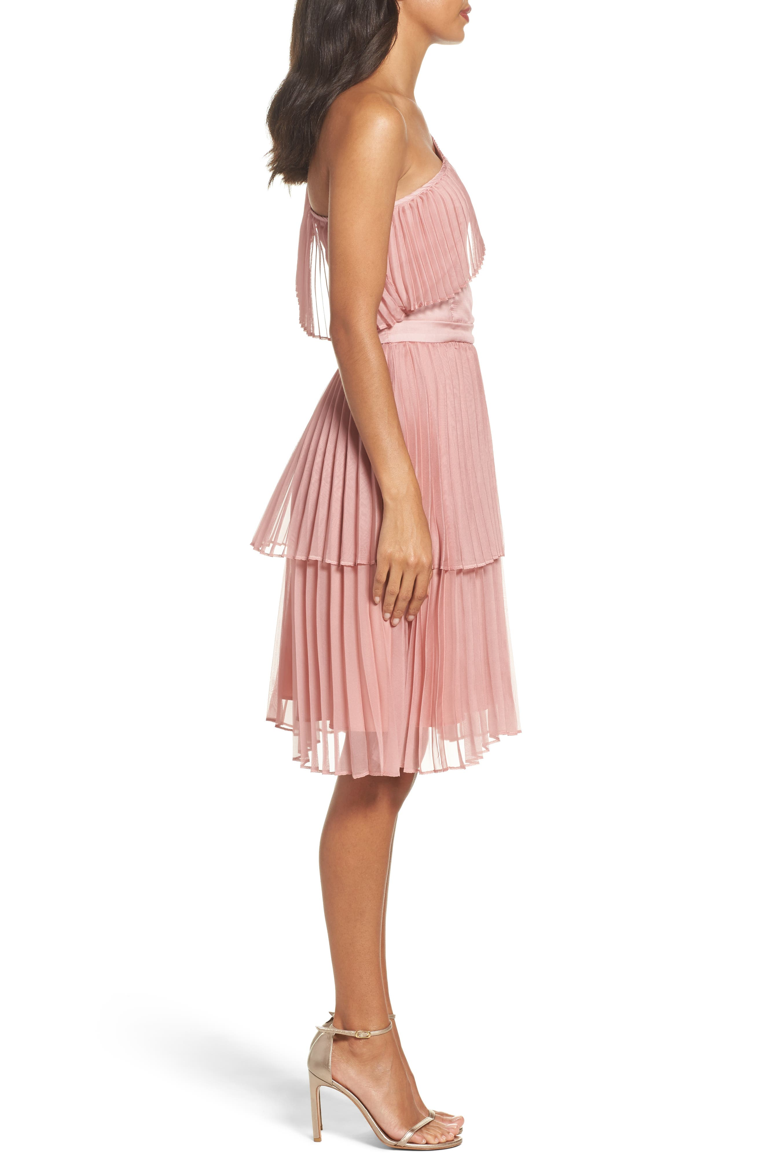 Pleated Tiered One-Shoulder Dress,                             Alternate thumbnail 3, color,