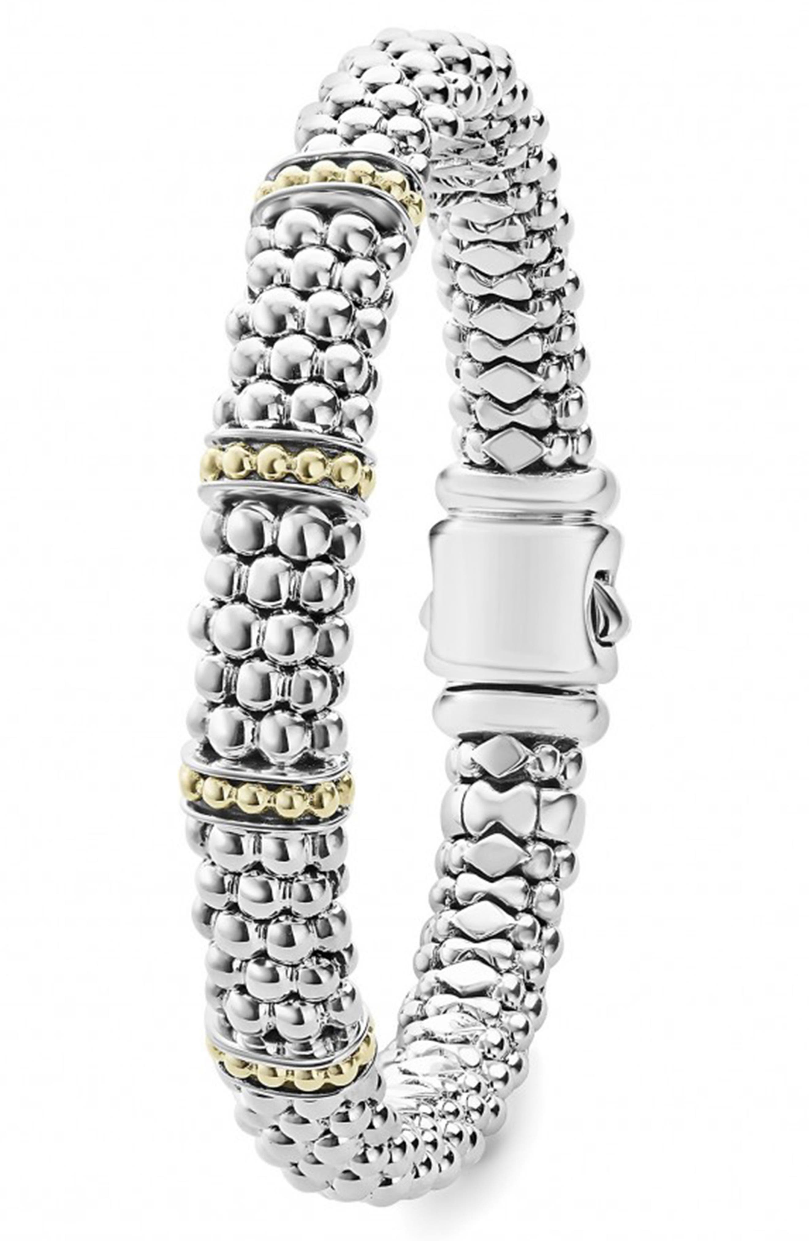 'Enso' Two-Tone Rope Caviar<sup>™</sup> Bracelet,                             Alternate thumbnail 3, color,                             SILVER/ GOLD