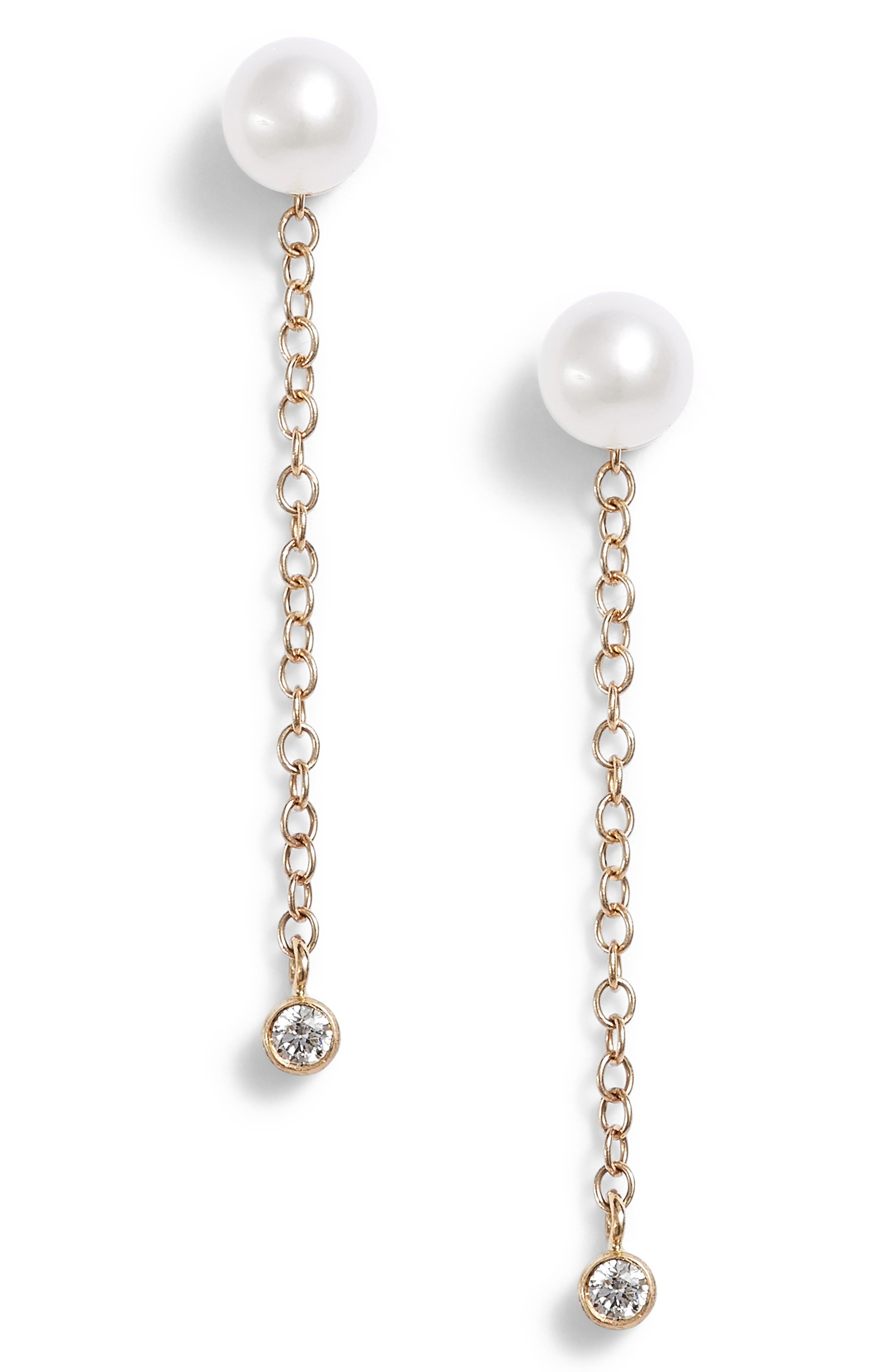 Baby Pearl & Diamond Stud Earrings,                         Main,                         color, YELLOW GOLD/ PEARL