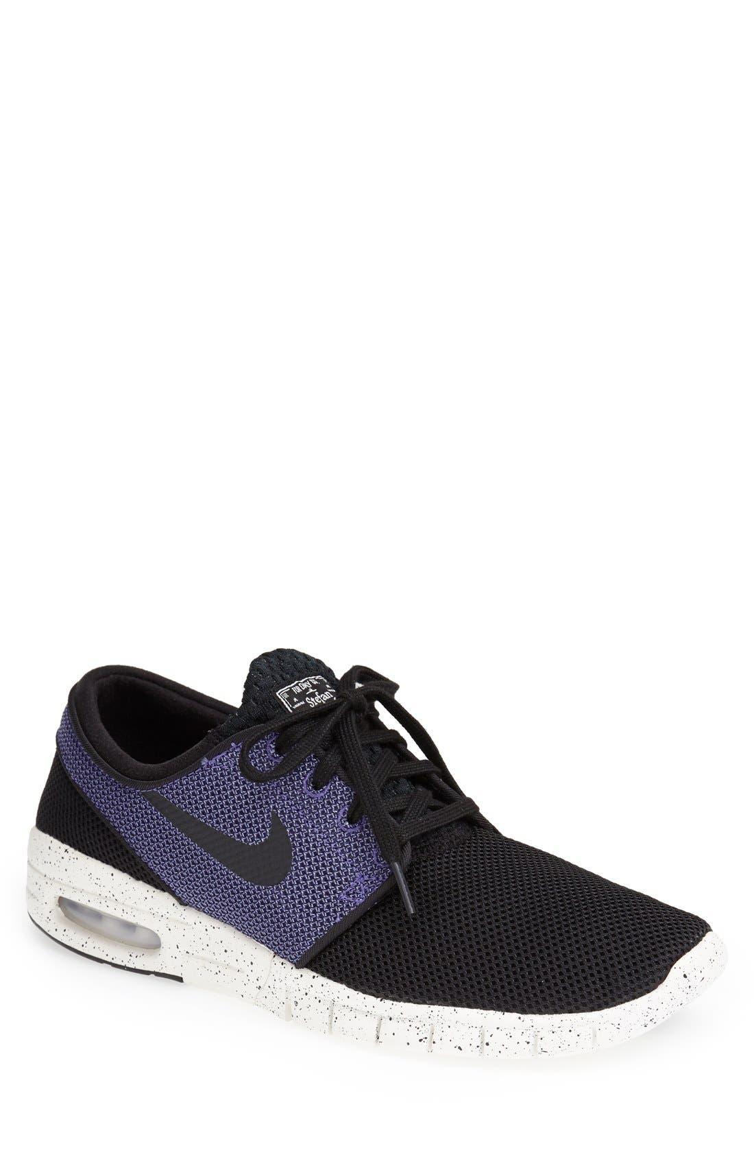 'Stefan Janoski - Max SB' Skate Shoe,                             Main thumbnail 1, color,                             BLACK/ PRO PURPLE/ WHITE