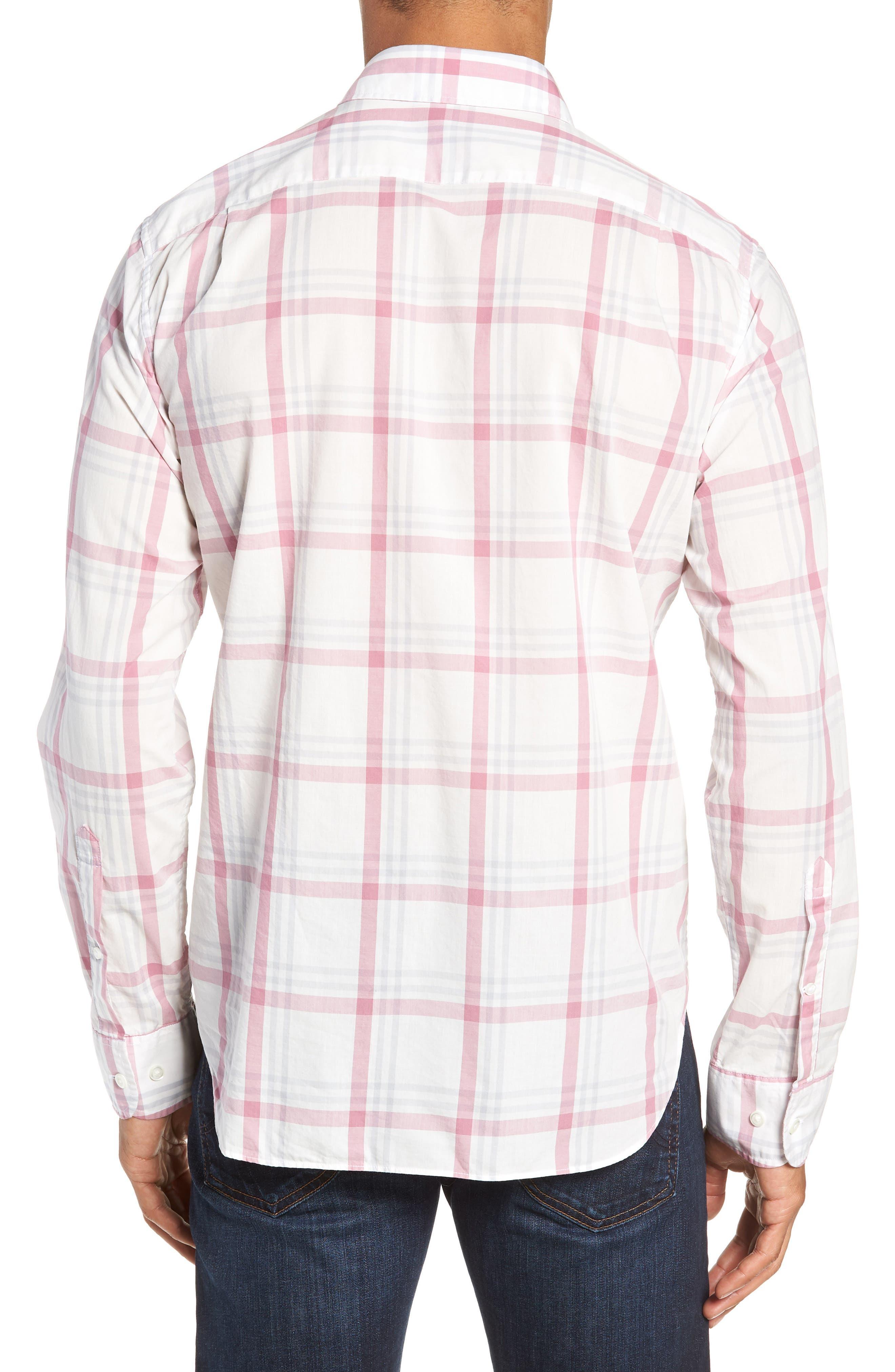 BONOBOS,                             Summerweight Slim Fit Plaid Sport Shirt,                             Alternate thumbnail 3, color,                             100