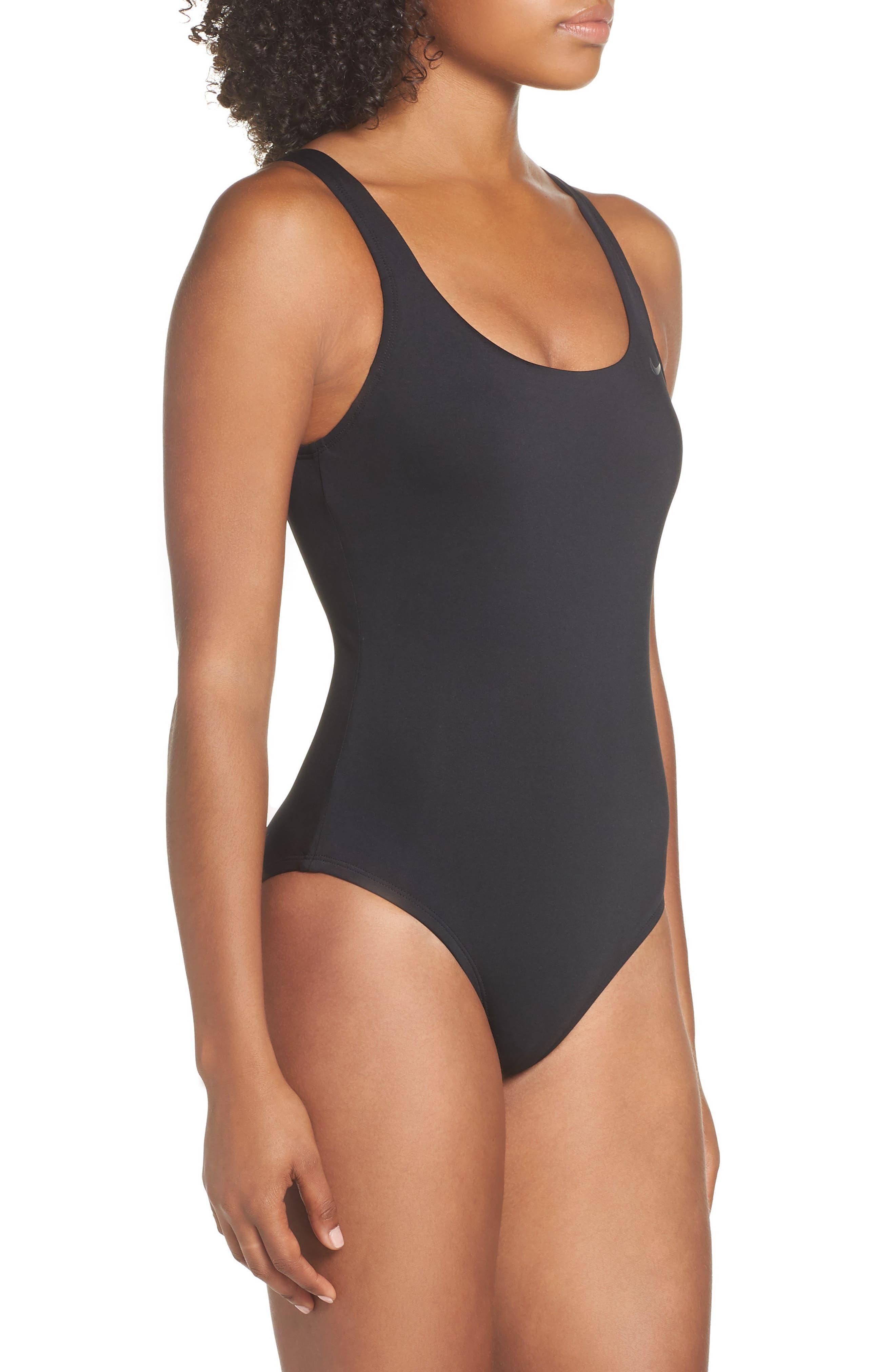 NIKE,                             U-Back One-Piece Swimsuit,                             Alternate thumbnail 3, color,                             BLACK