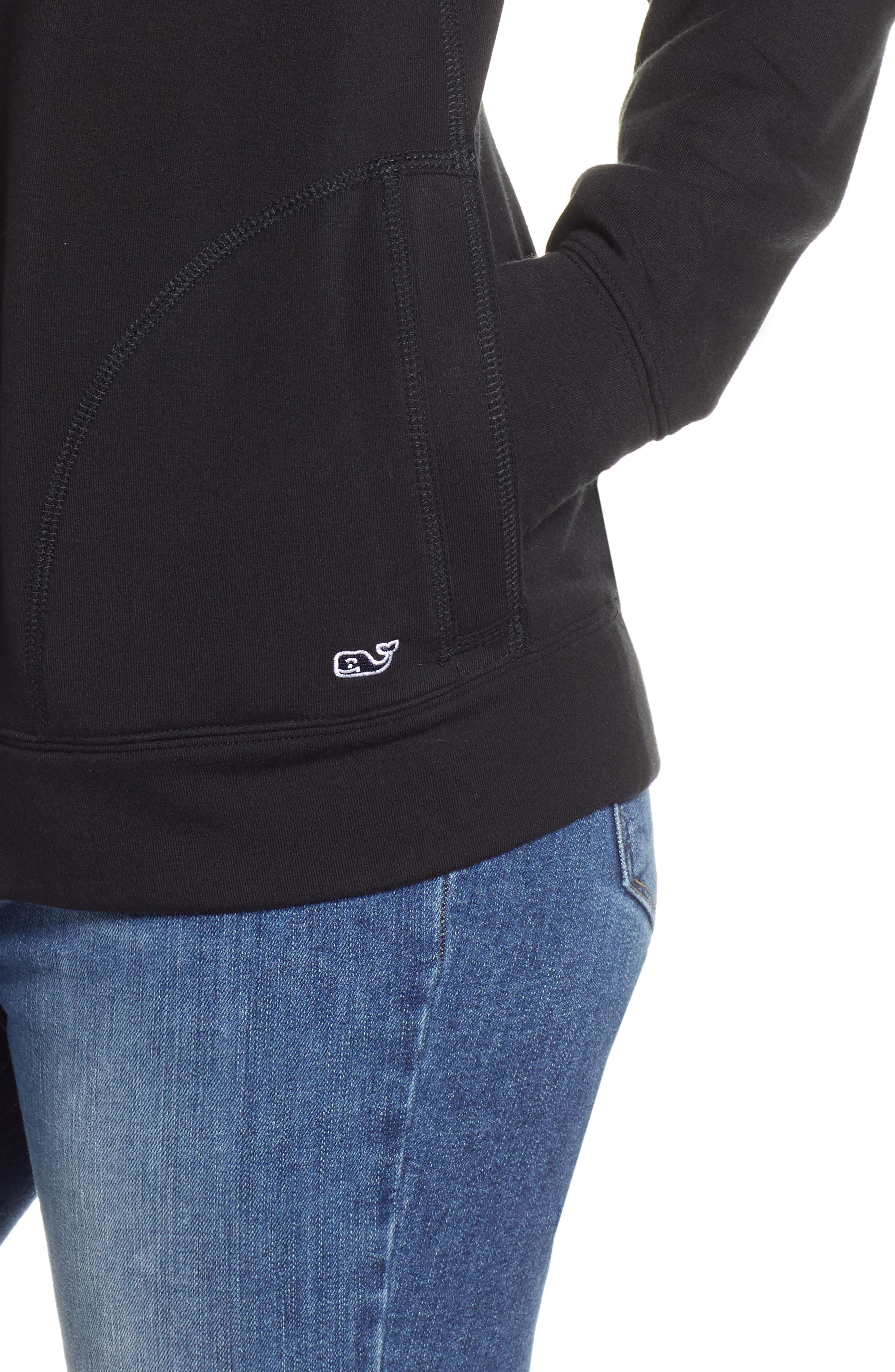 Funnel Neck Sweatshirt,                             Alternate thumbnail 4, color,                             JET BLACK