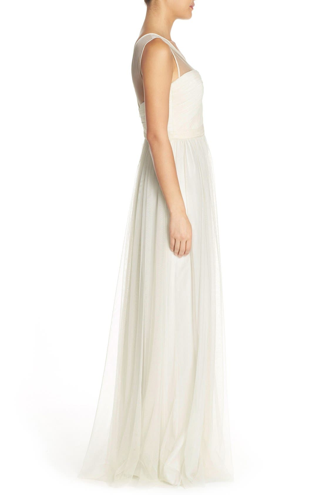 'Alyce' Illusion V-Neck Pleat Tulle Gown,                             Alternate thumbnail 10, color,