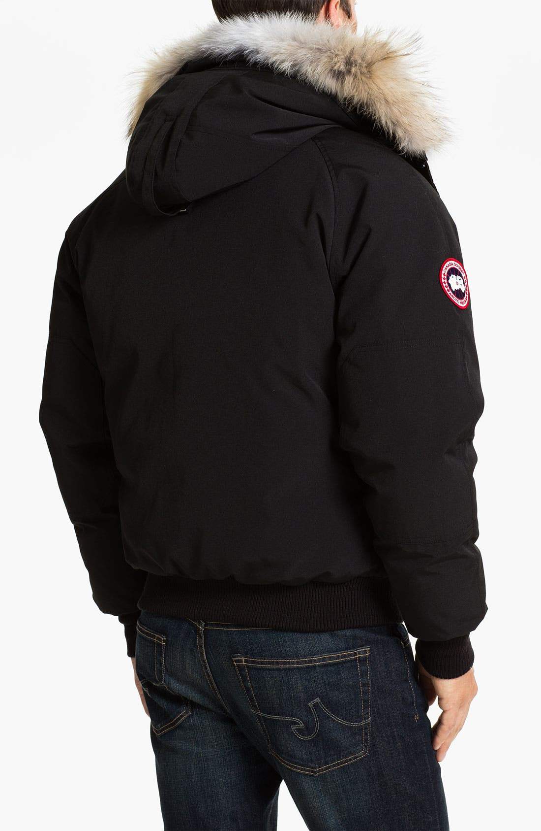 'Chilliwack' Down Bomber Jacket with Genuine Coyote Trim,                             Alternate thumbnail 2, color,                             001