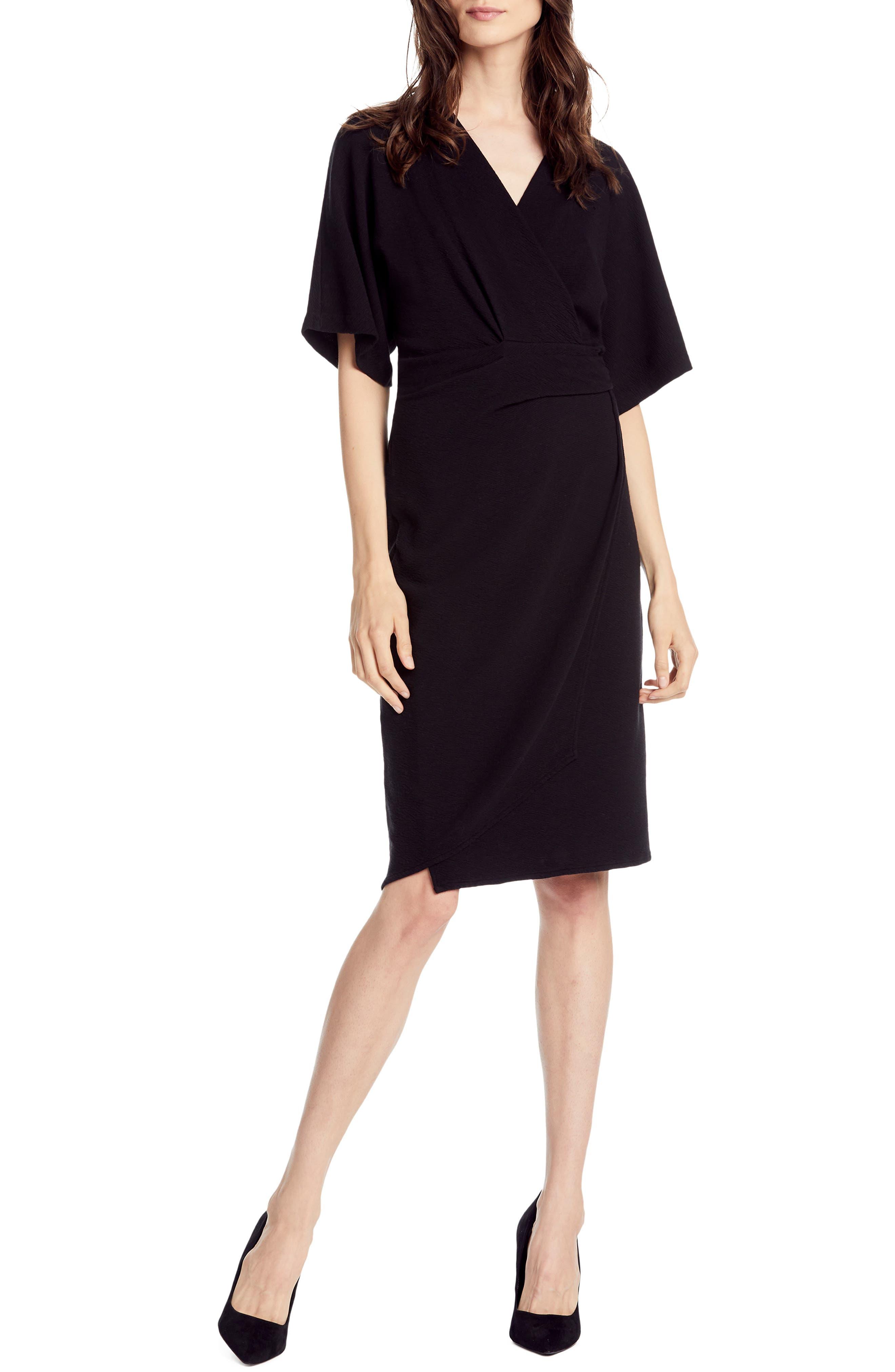 MICHAEL STARS,                             Pebble Knit Pleat Wrap Dress,                             Main thumbnail 1, color,                             BLACK