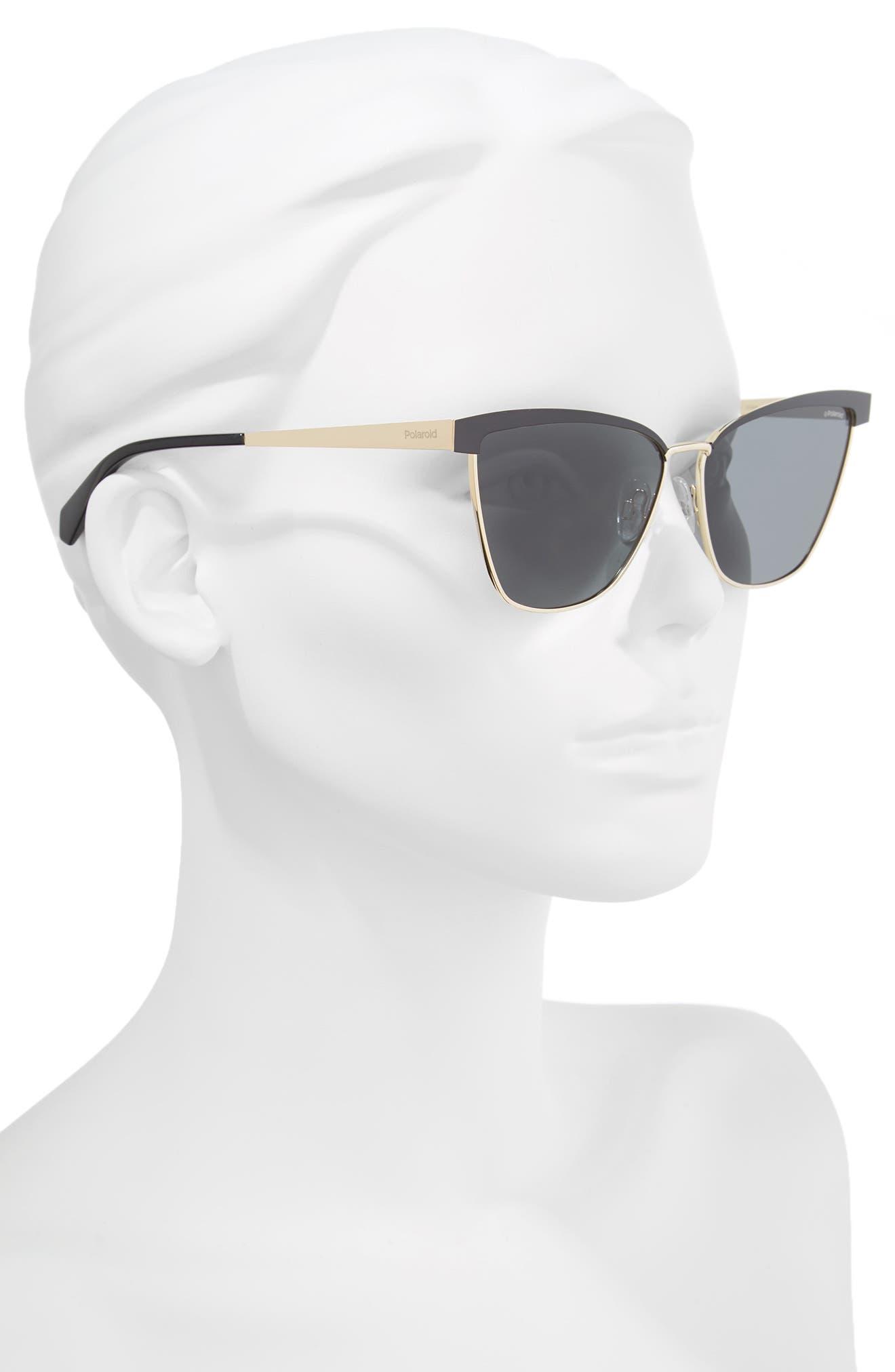 60mm Polarized Cat Eye Sunglasses,                             Alternate thumbnail 3, color,