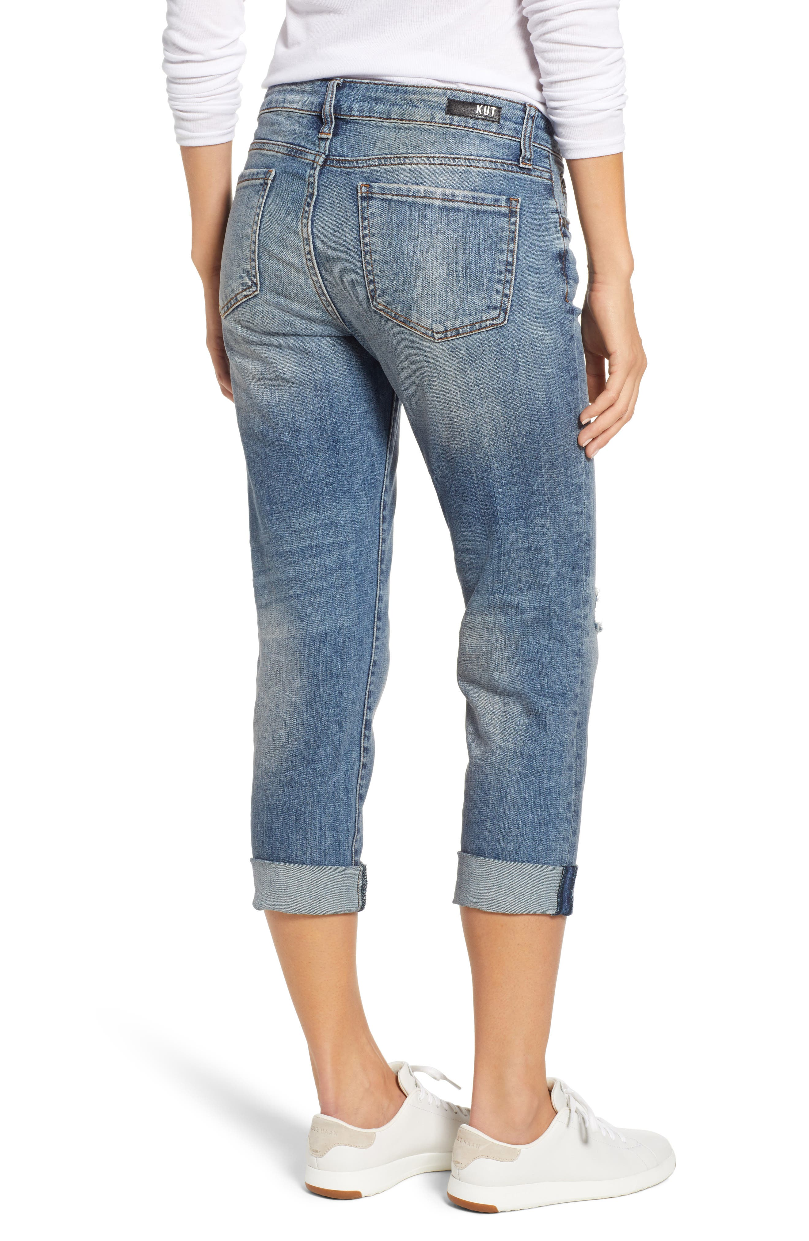 Catherine Ripped Straight Leg Ankle Jeans,                             Alternate thumbnail 2, color,                             400