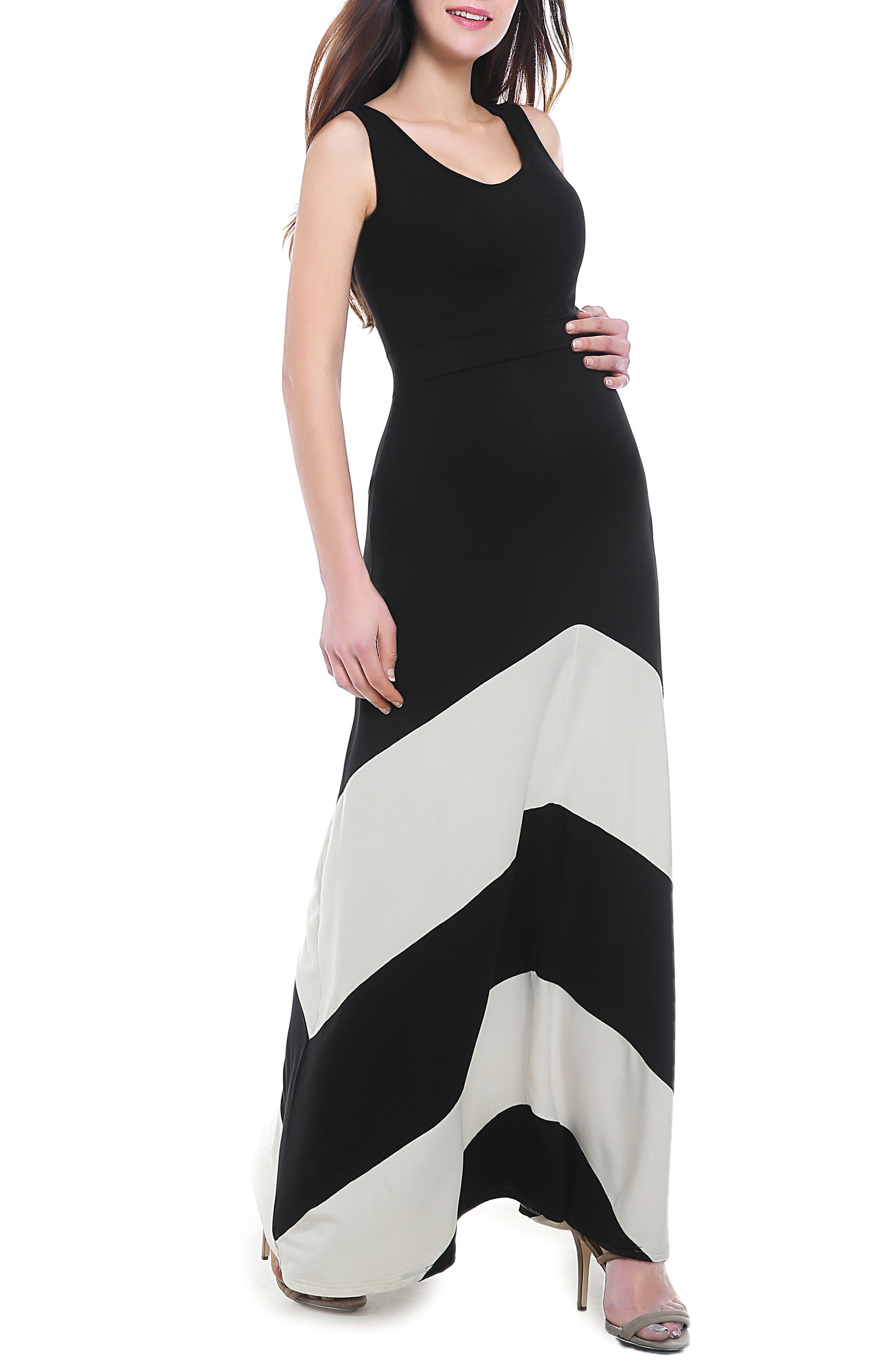 Sally Maternity Maxi Dress,                         Main,                         color, BLACK/ WHITE
