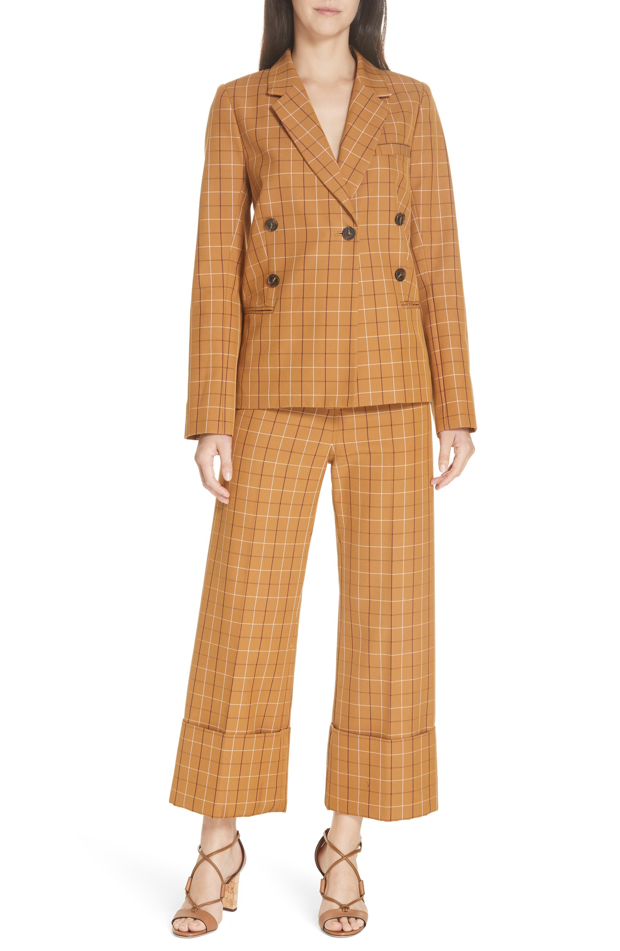 SEA,                             Poirot Plaid Cuff Pants,                             Alternate thumbnail 8, color,                             CARAMEL MULTI