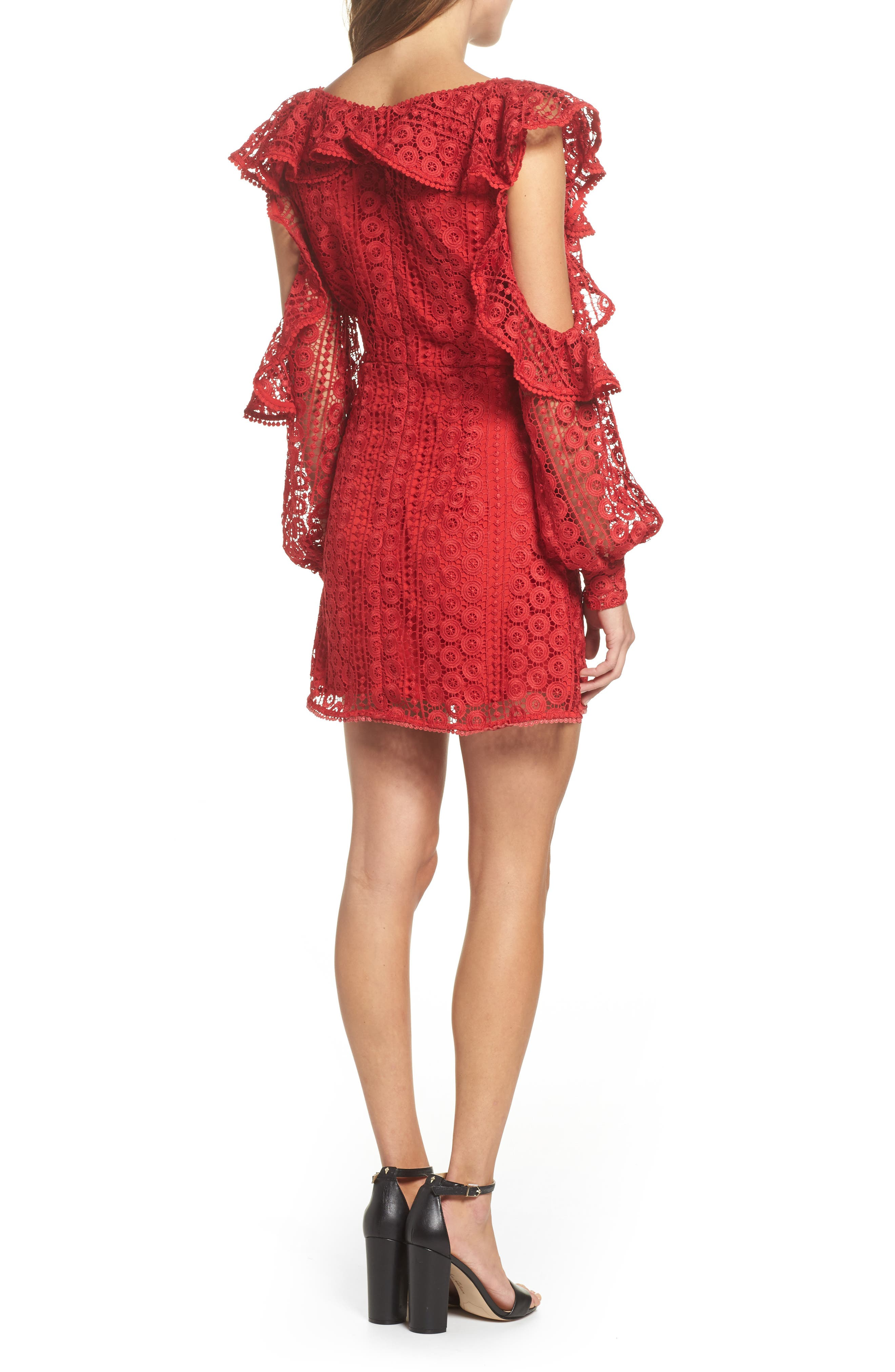 Massey Lace Cold Shoulder Minidress,                             Alternate thumbnail 2, color,                             625
