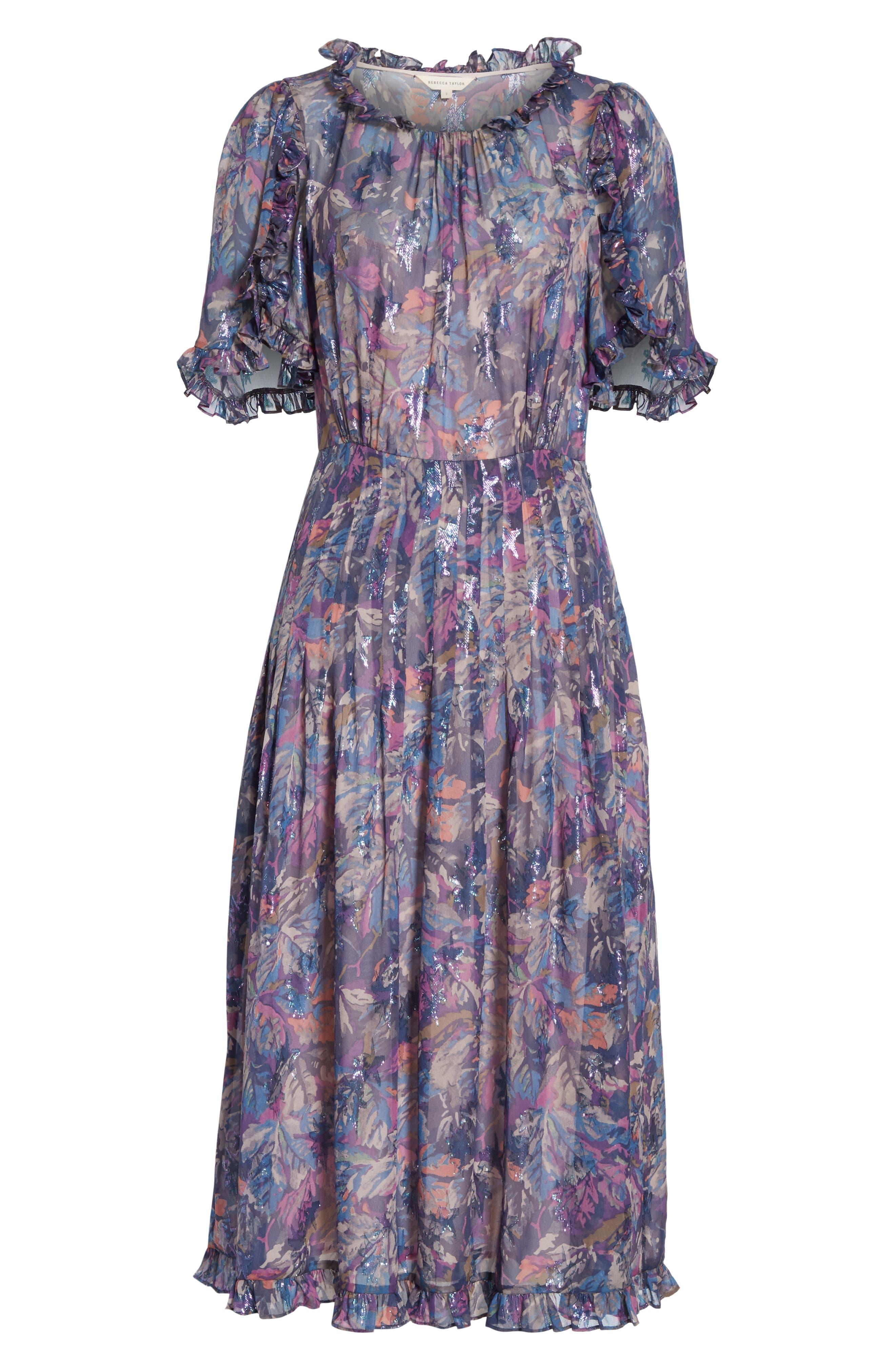 Giverny Metallic Detail Silk Chiffon Dress,                             Alternate thumbnail 6, color,                             AMETHYST COMBO