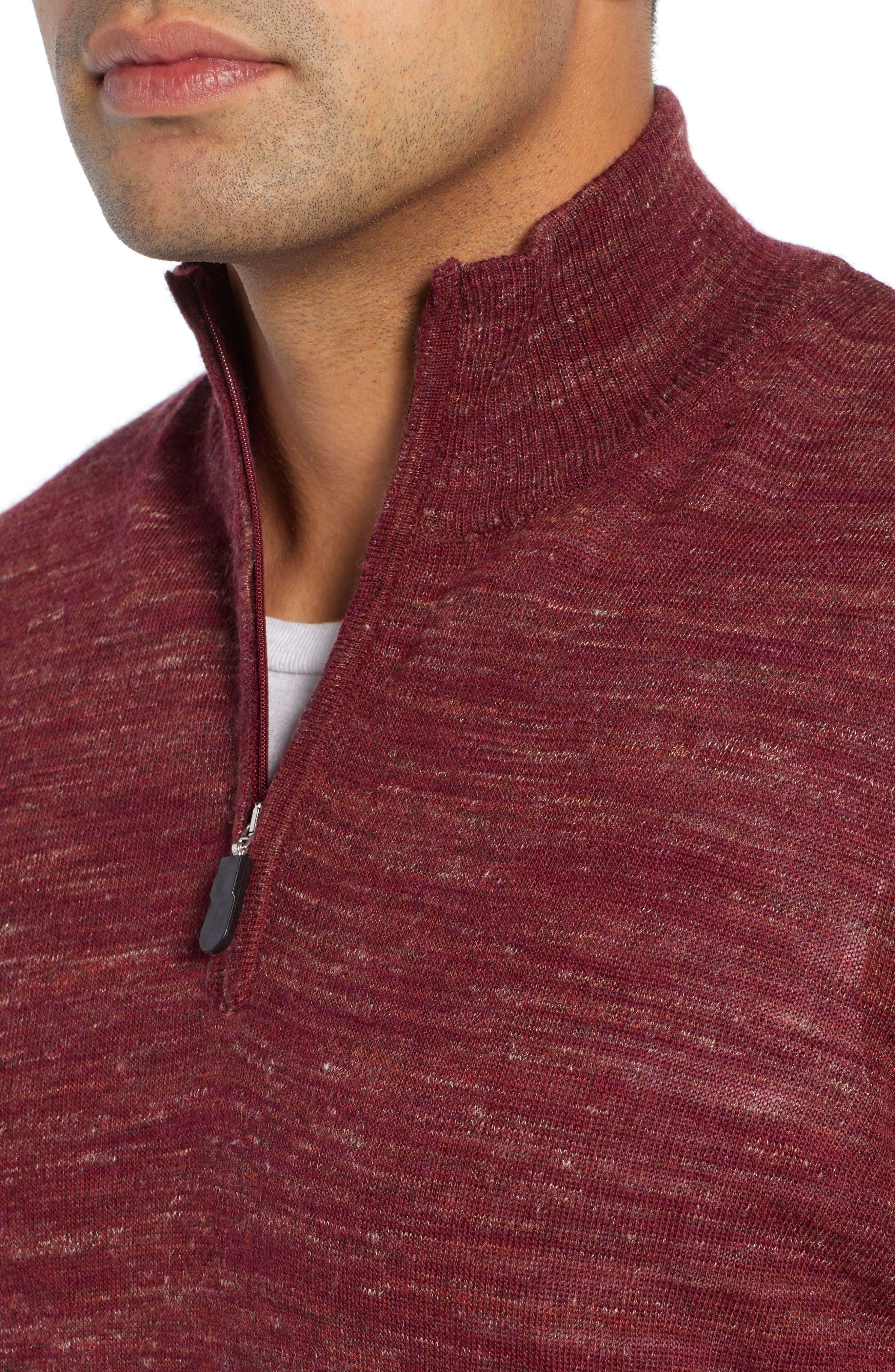 Quarter Zip Pullover,                             Alternate thumbnail 4, color,                             WINE