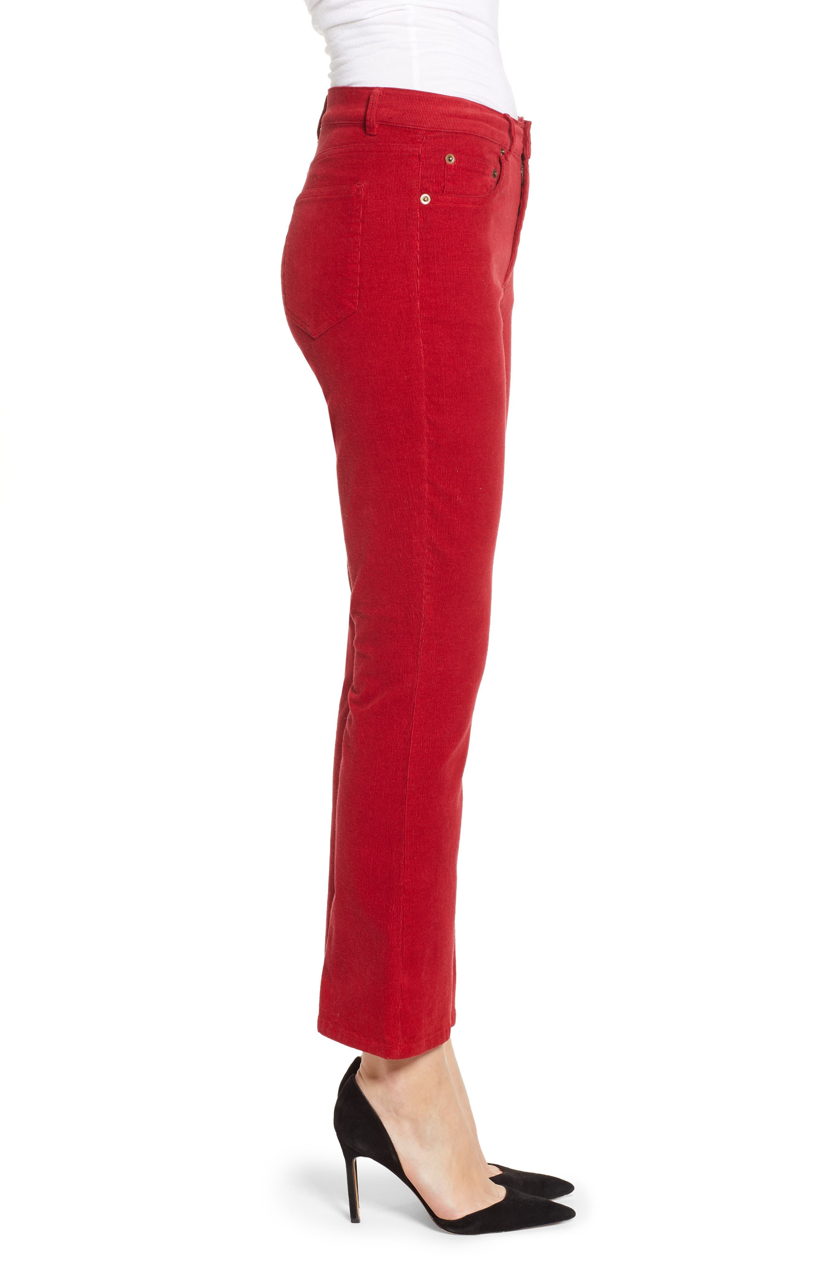 Corduroy Slim Crop Flare Pants,                             Alternate thumbnail 3, color,                             MINERAL RED