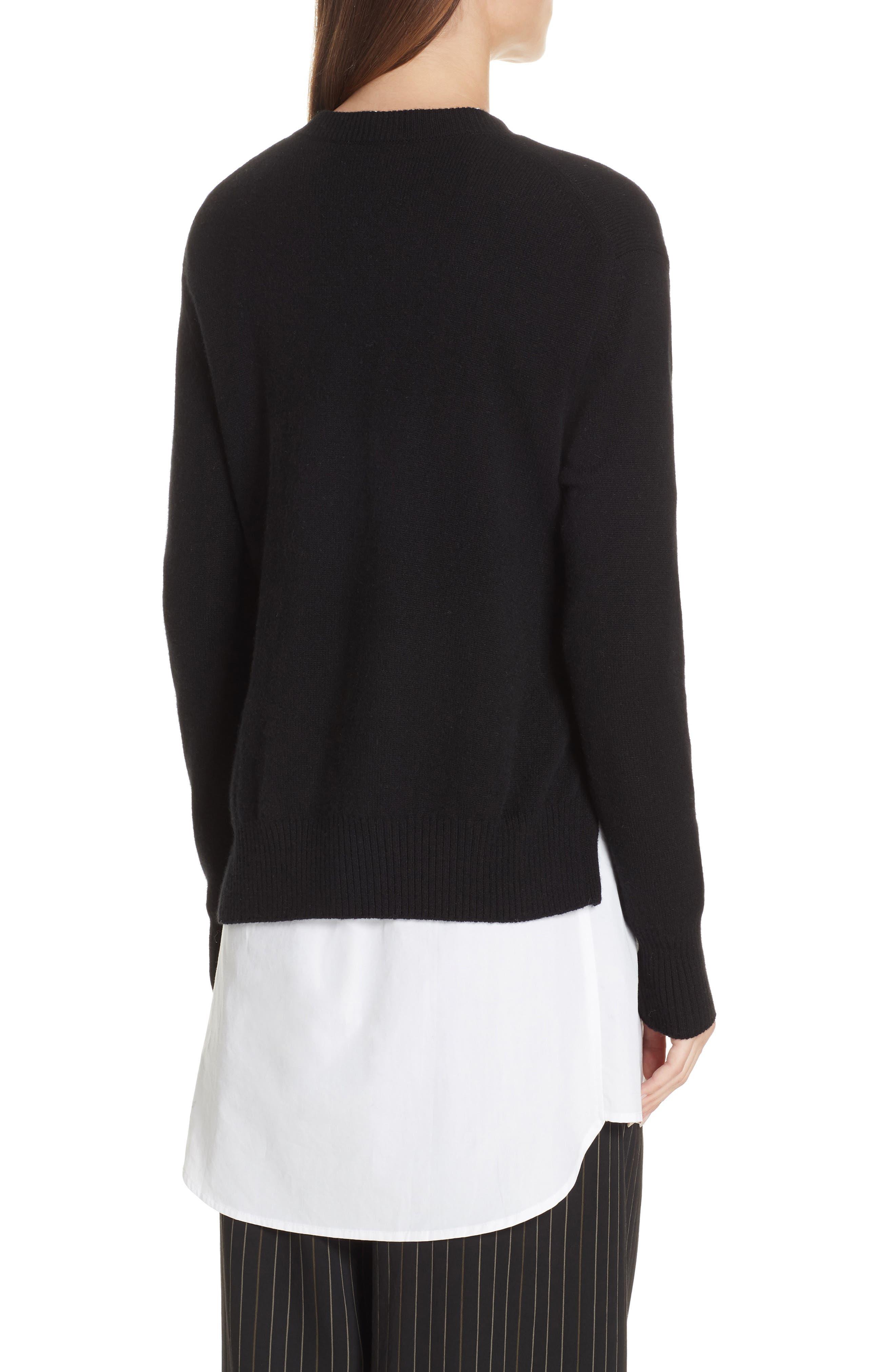 Asymmetrical Cashmere Sweater,                             Alternate thumbnail 2, color,                             BLACK
